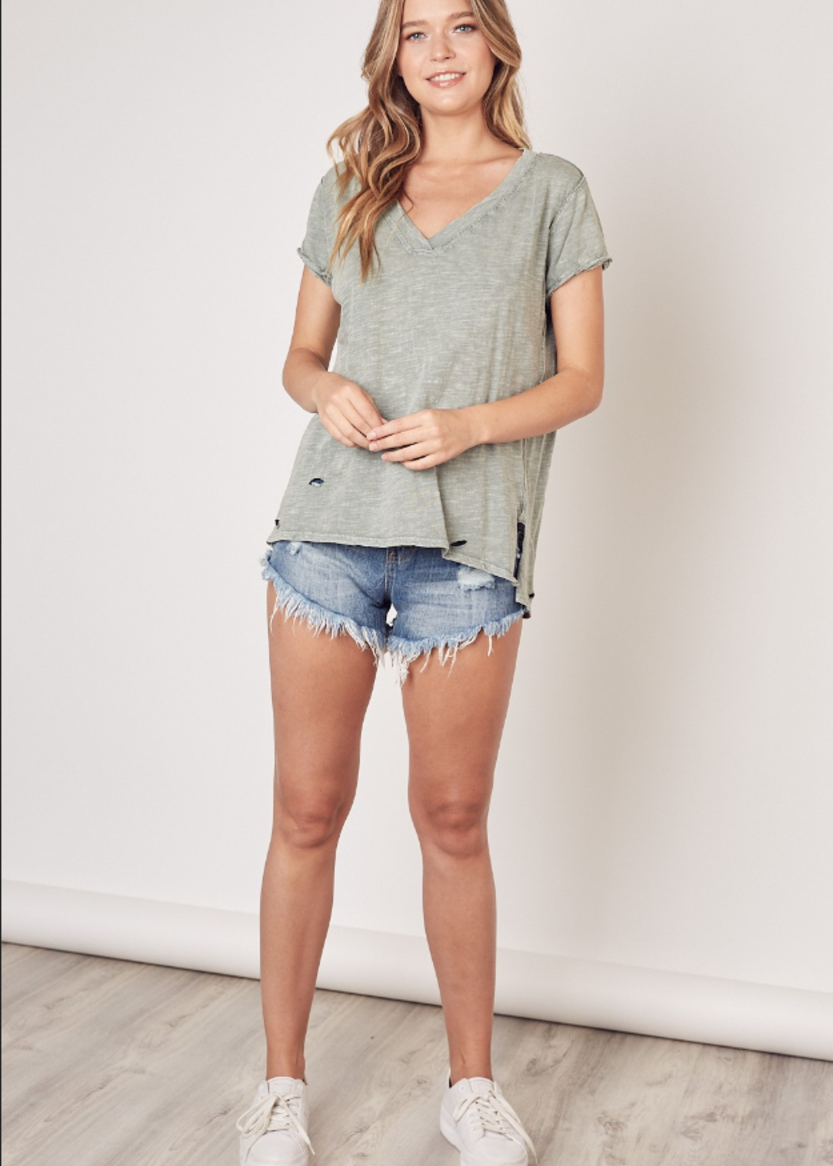 V Neck Distressed Tee - Olive