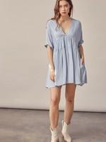 V Neck Tiered Mini Dress - Misty Blue