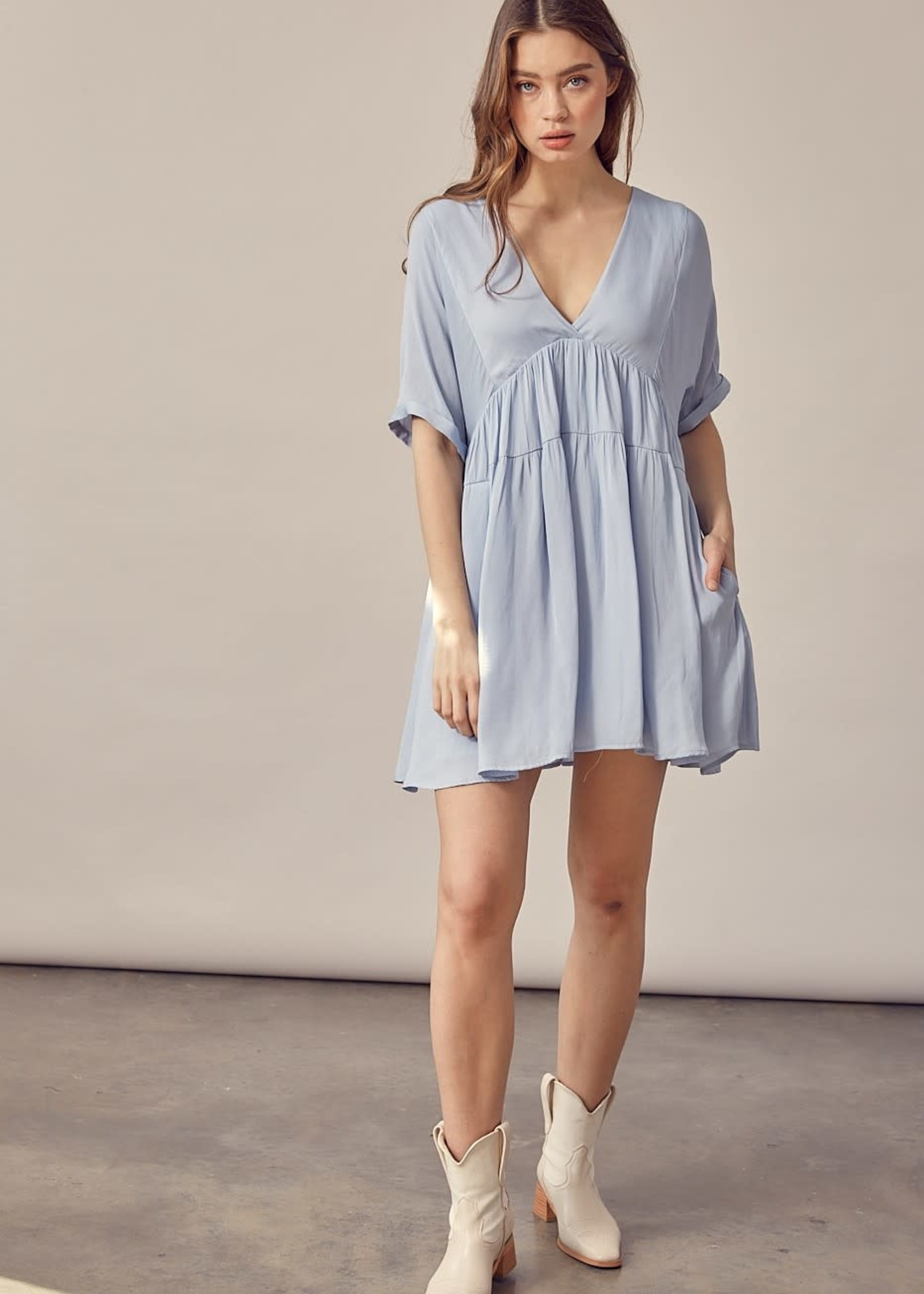 V Neck Tiered Mini Dress - Misty Blue