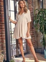 V Neck Tiered Mini Dress - Ecru