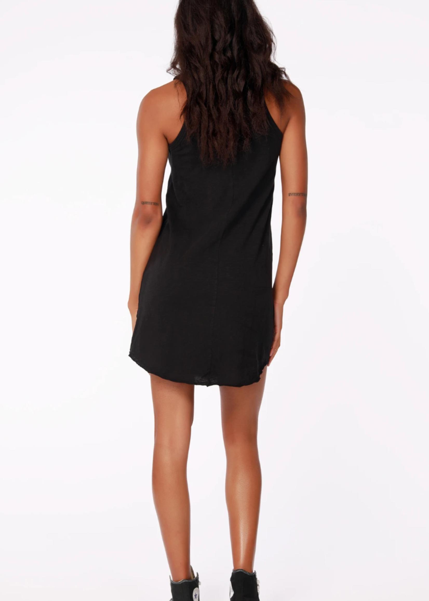 Bobi Henley Tank Dress - Black