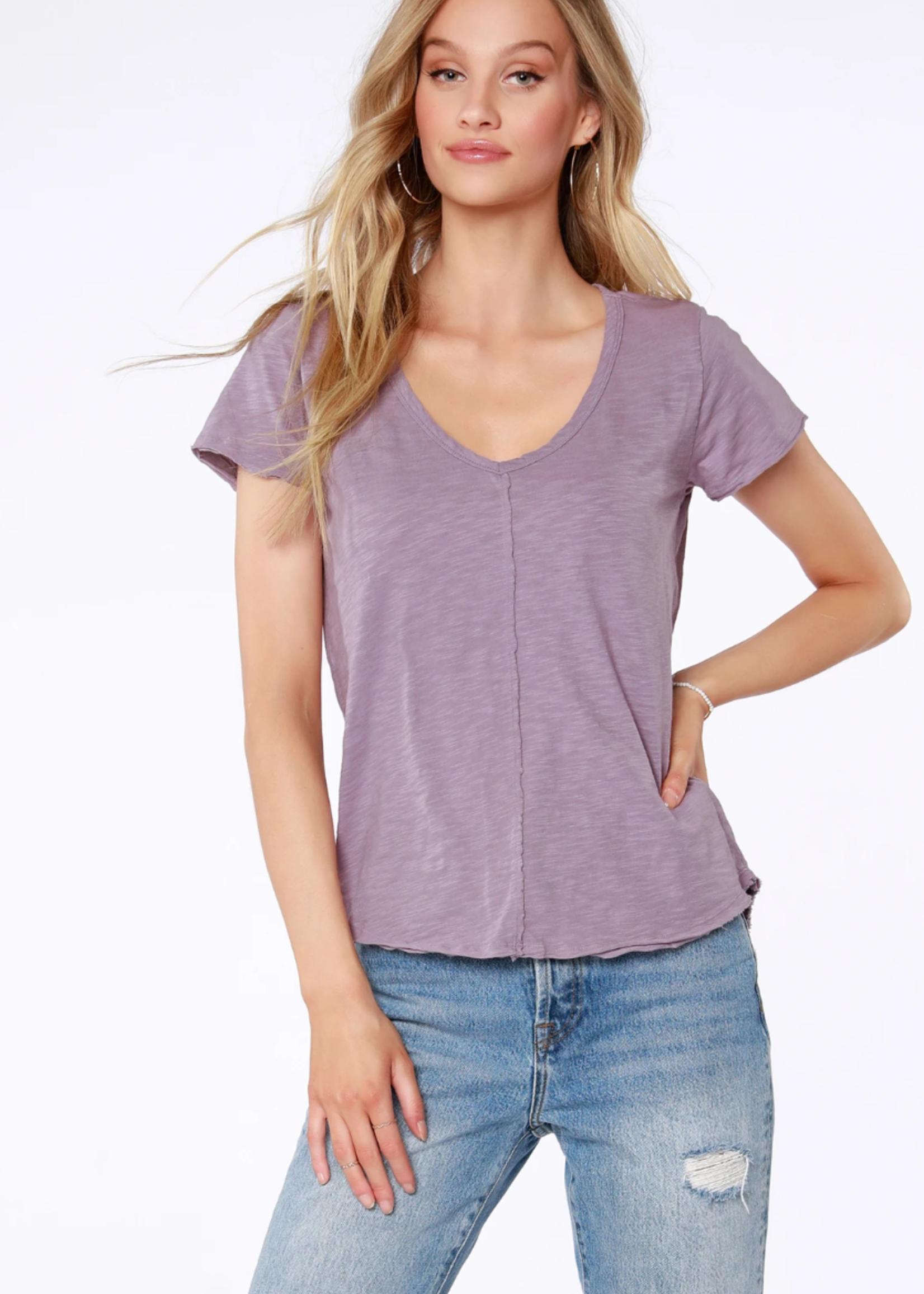 Bobi Short Sleeve Frayed Edge Tee - Lavender
