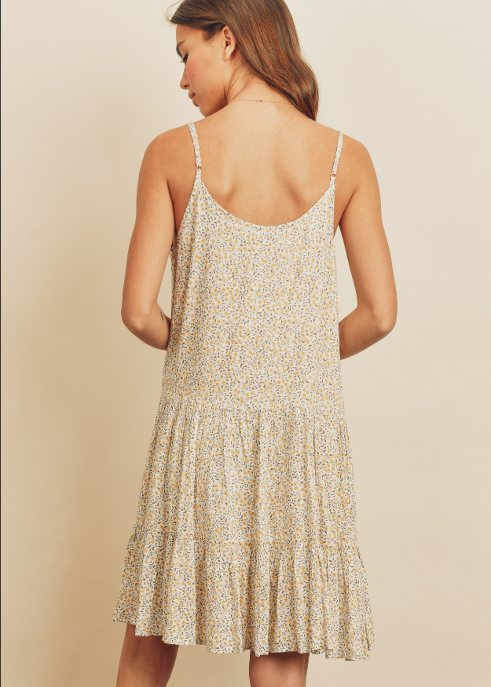 Tiered Floral Dress - Ivory/Yellow