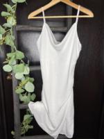 Cowl Neck Mini Dress - White