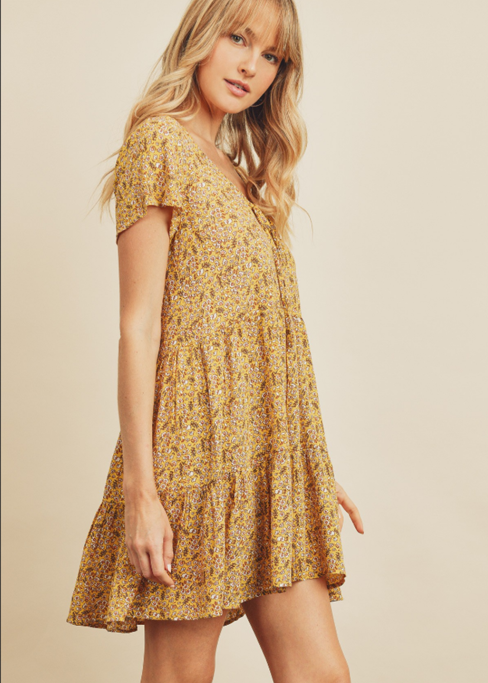 Floral Tie Front Tiered Dress - Honey Butter