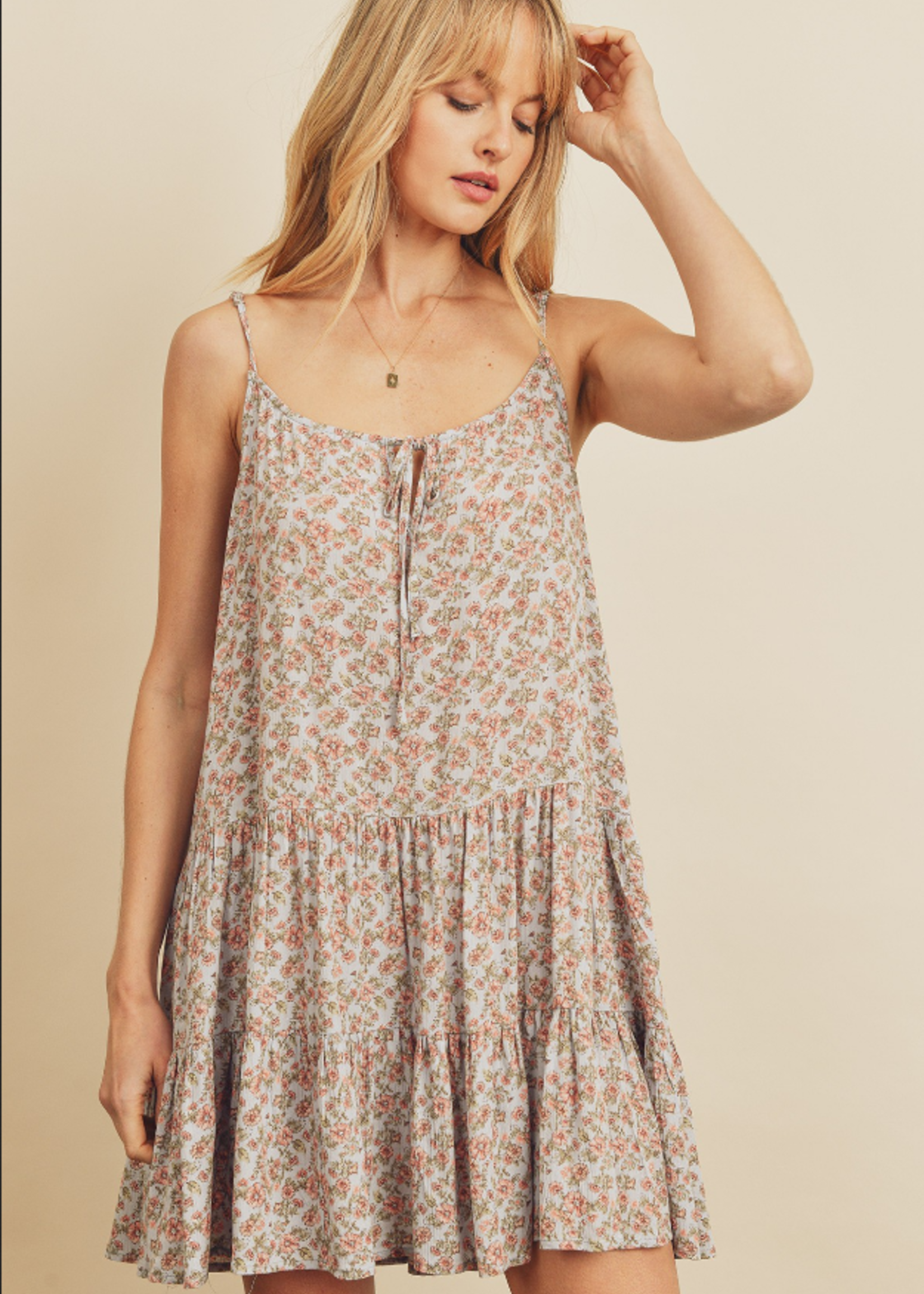 Floral Tiered Dress - Sky Blue