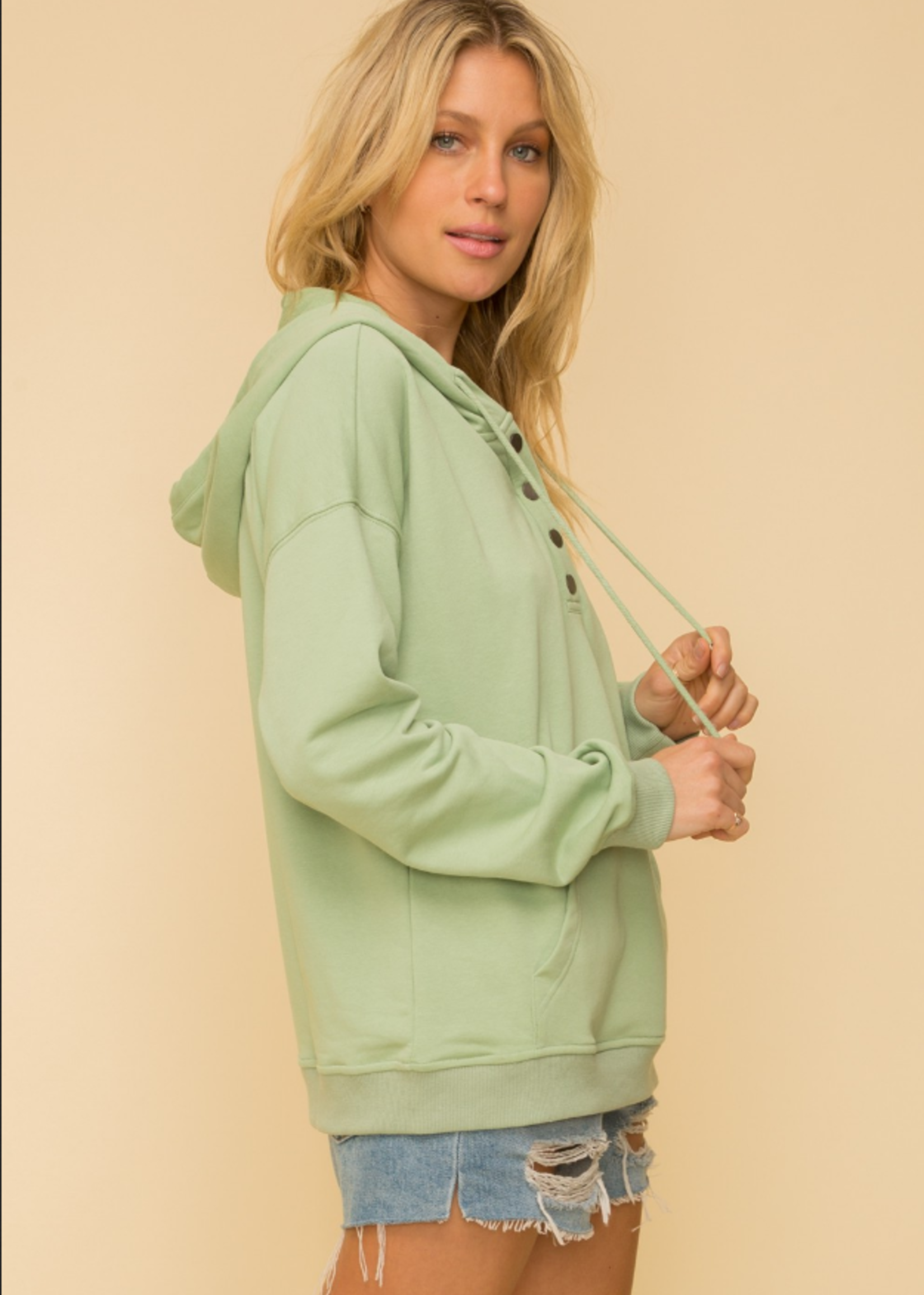 Henley French Terry Hoodie - Sage