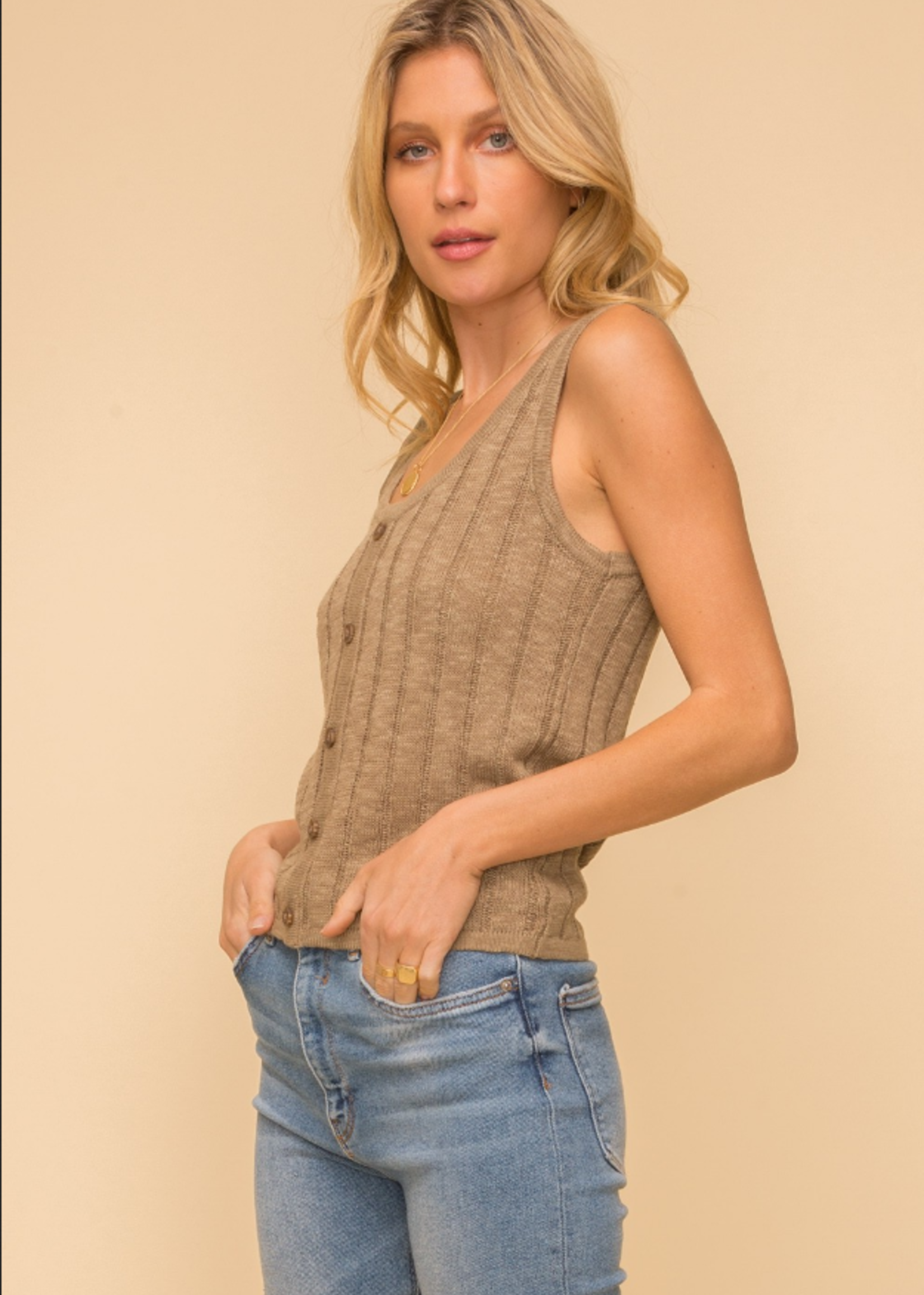 Button Down Sweater Tank - Olive