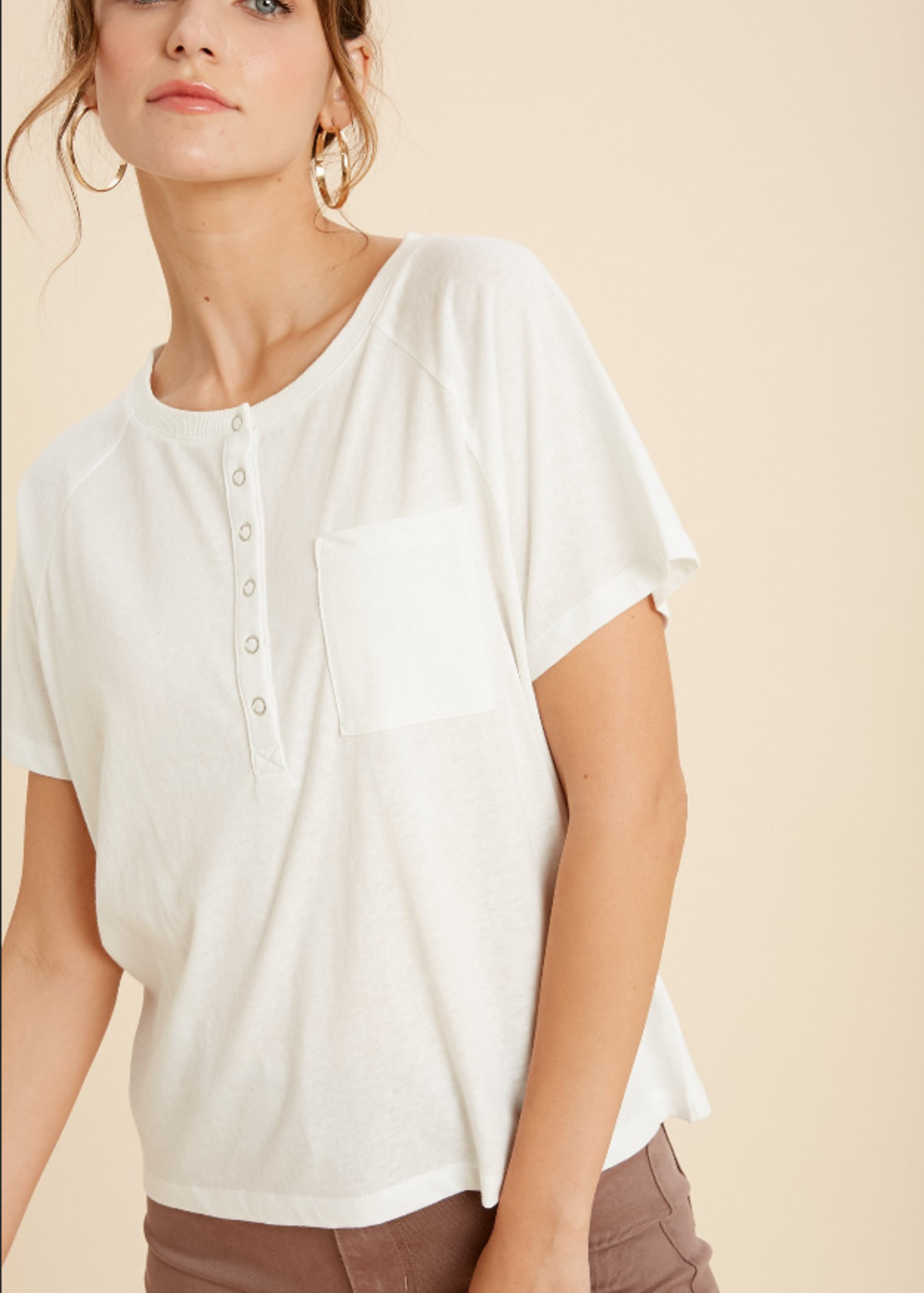 Pocket Snap Tee - Ivory
