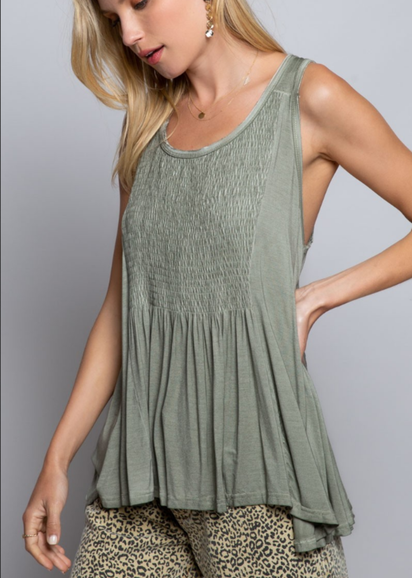 Smocked top with lace up back - Olive