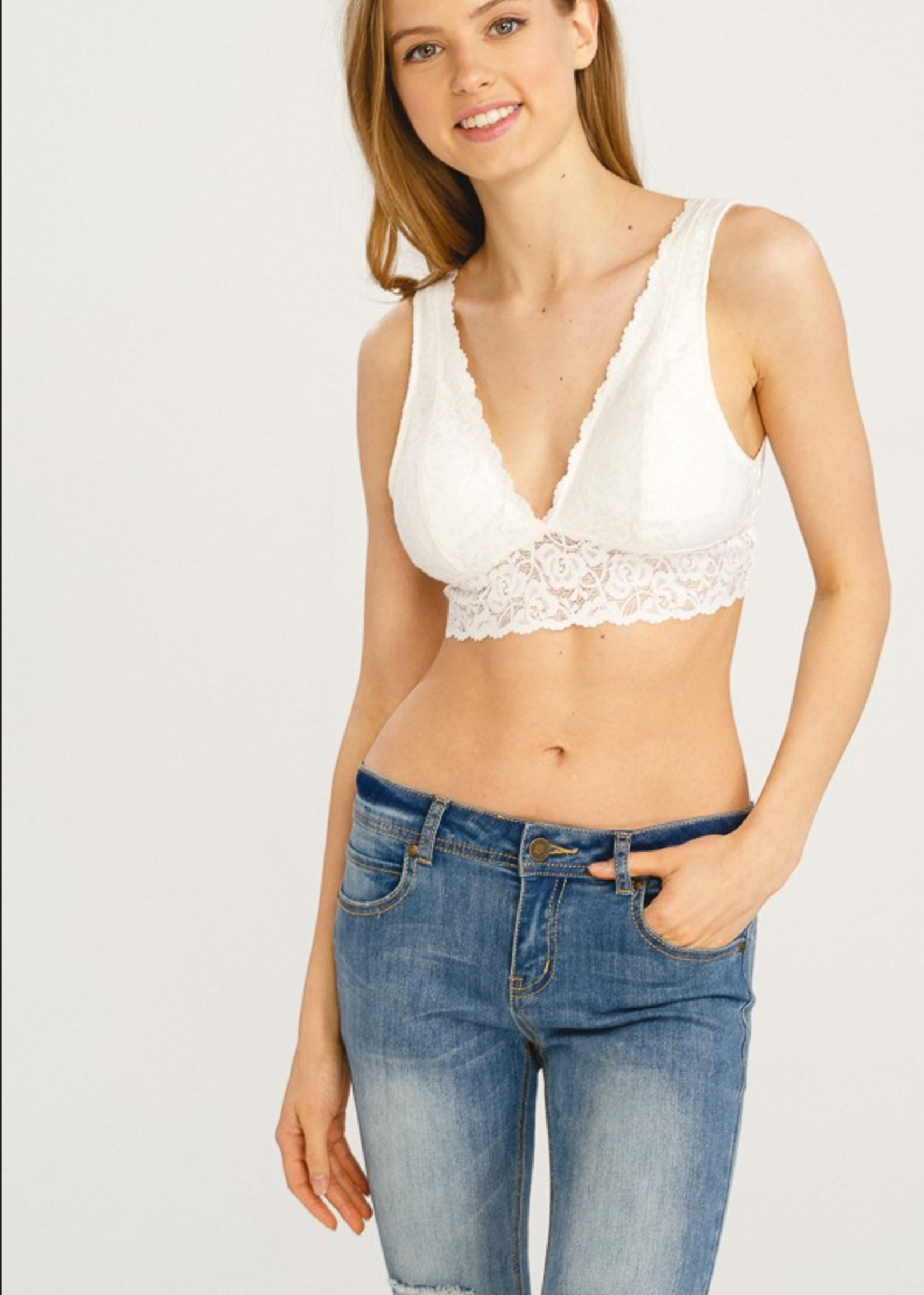 V Neck Lace Padded Bralette