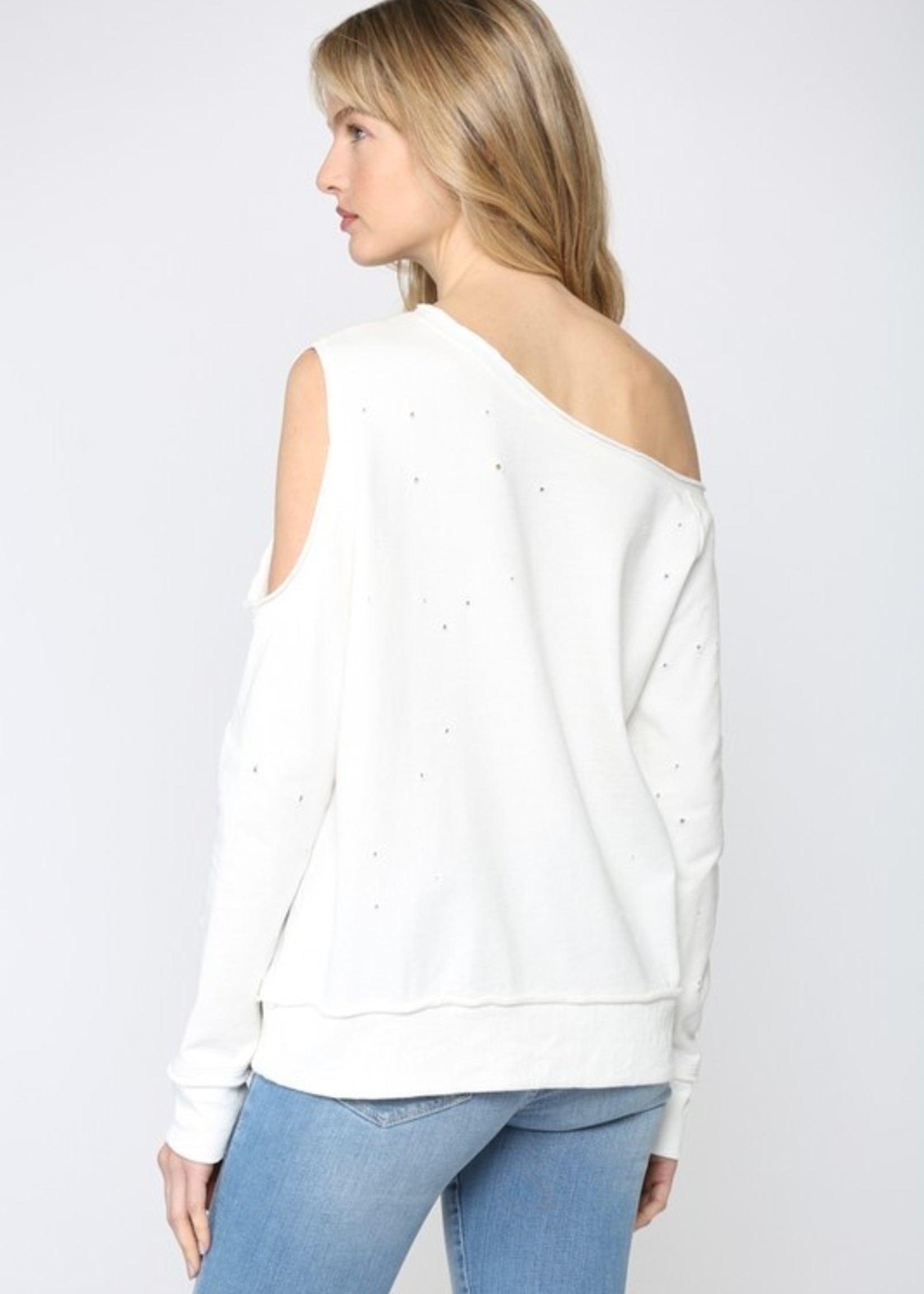 Distressed off one Shoulder French Terry