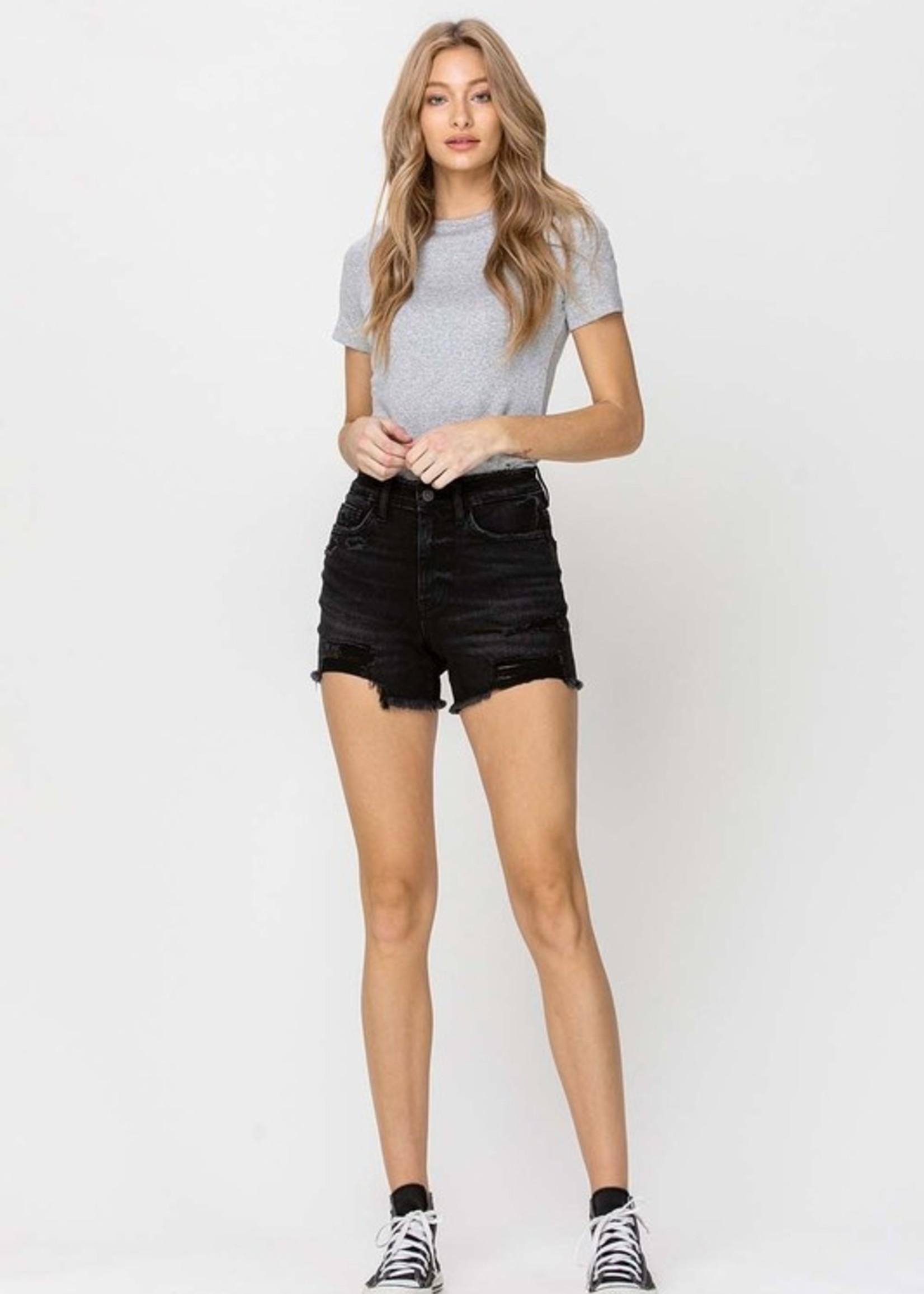 Hi Rise Distressed Shorts - Washed Black