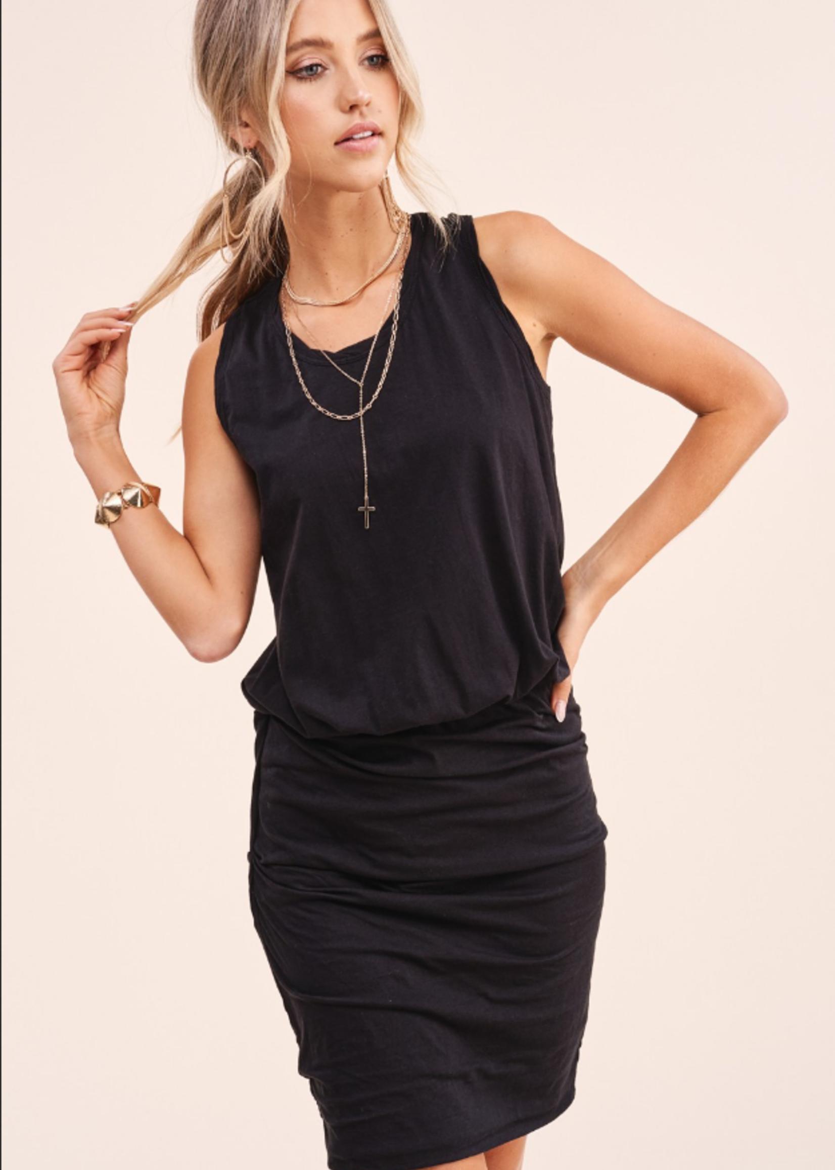 Sleeveless Rouched Knit Dress - Black