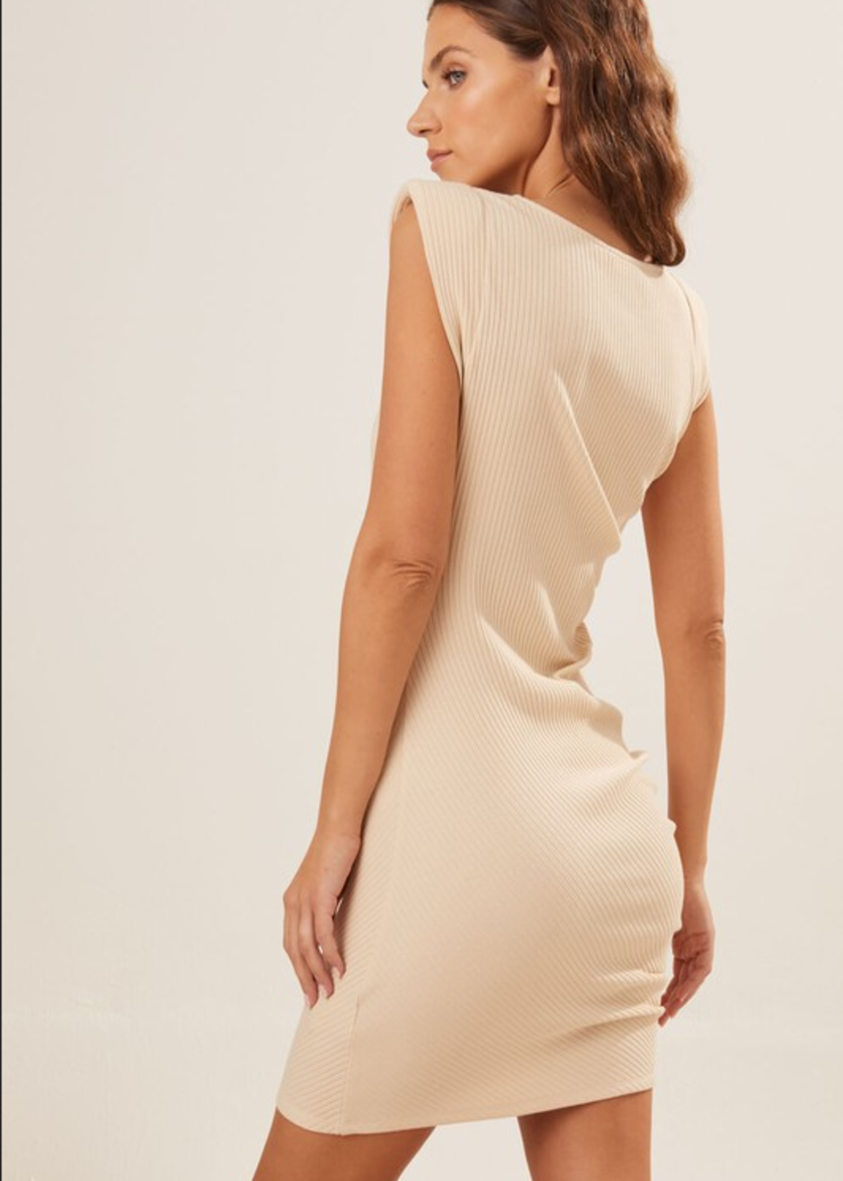 Dress with side rouching - Natural