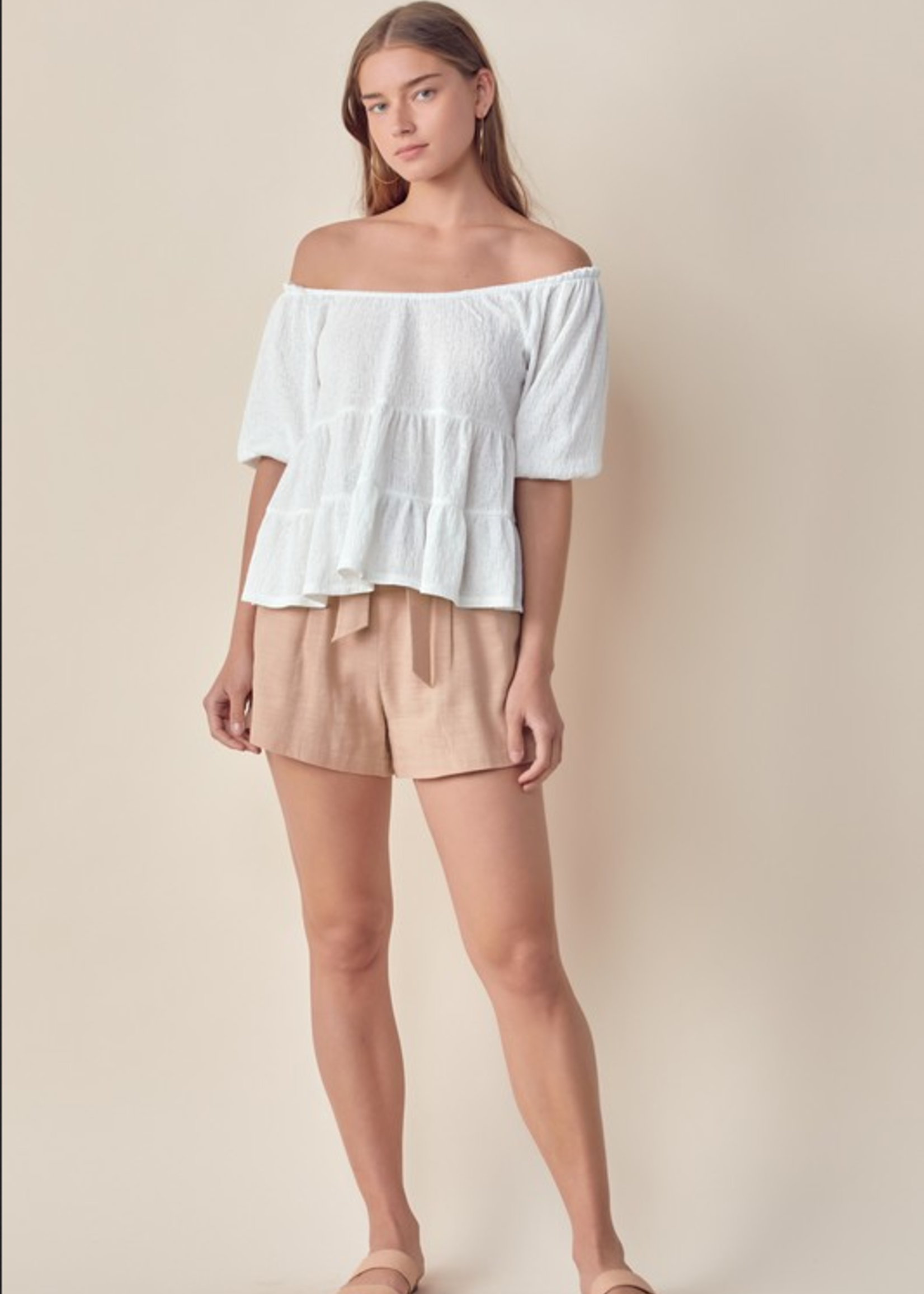 Off Shoulder Tiered Top - Off White