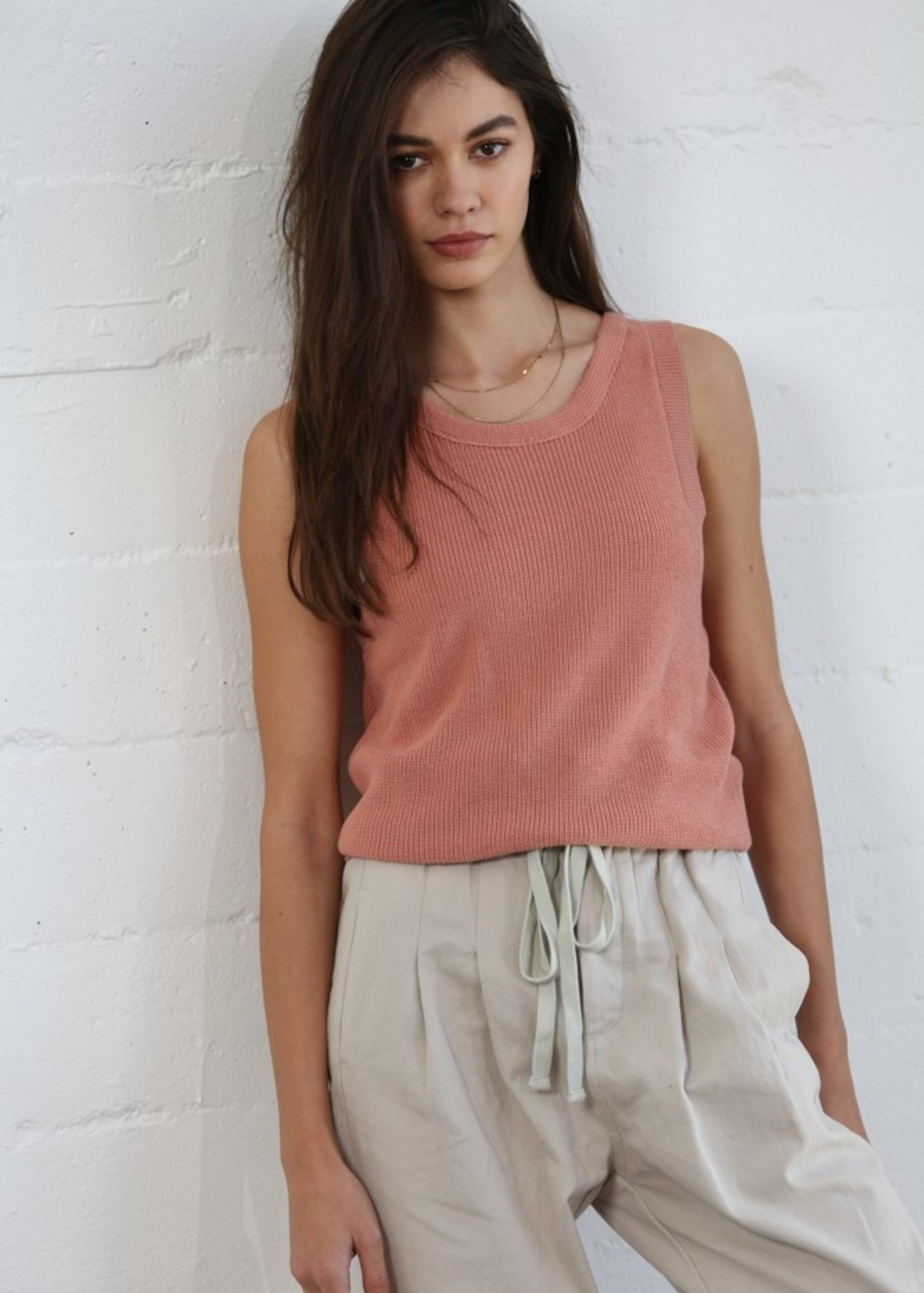 Sweater Tank with Twist Back - Rose