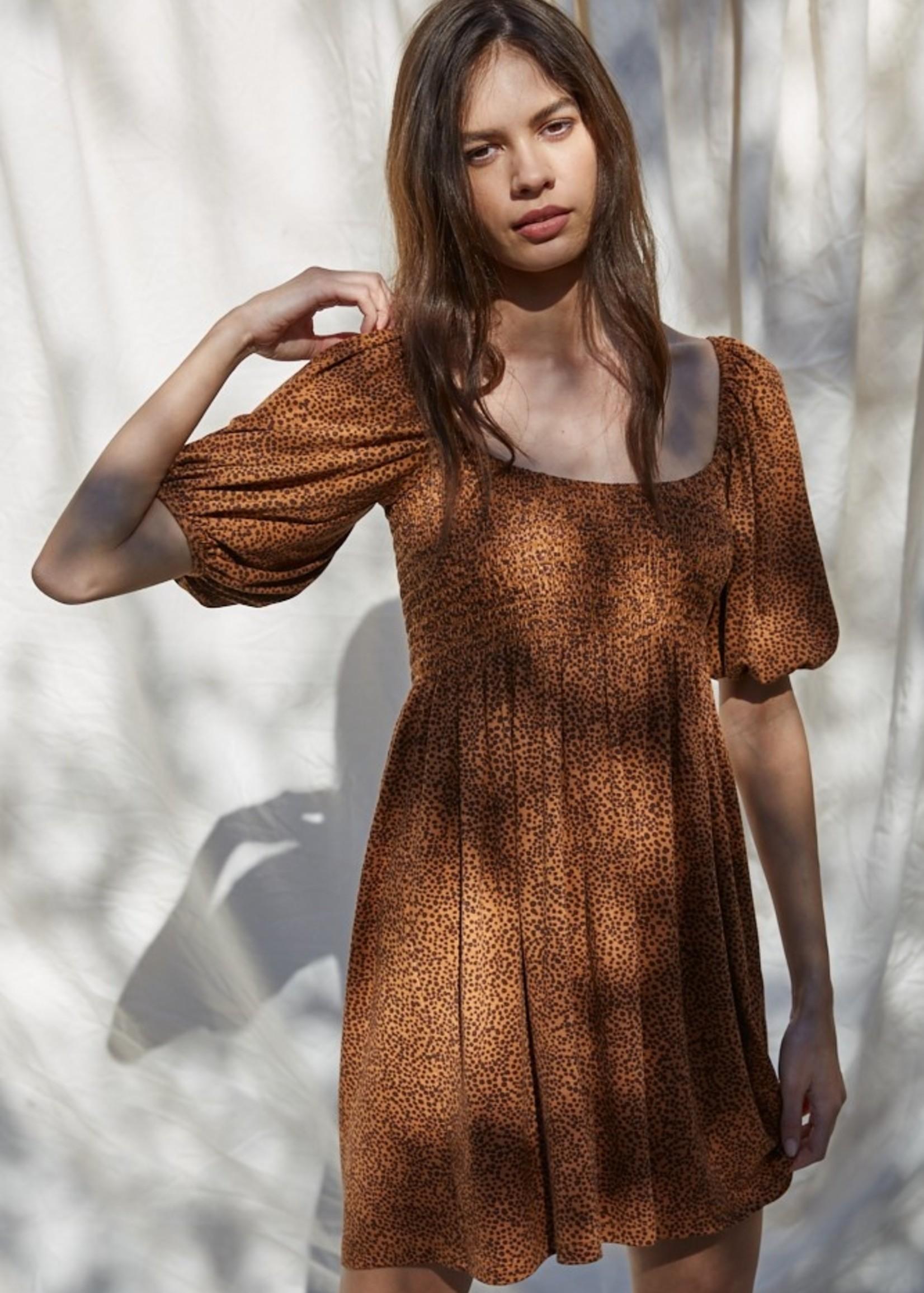 Short Sleeve Smocked Dress - Brown