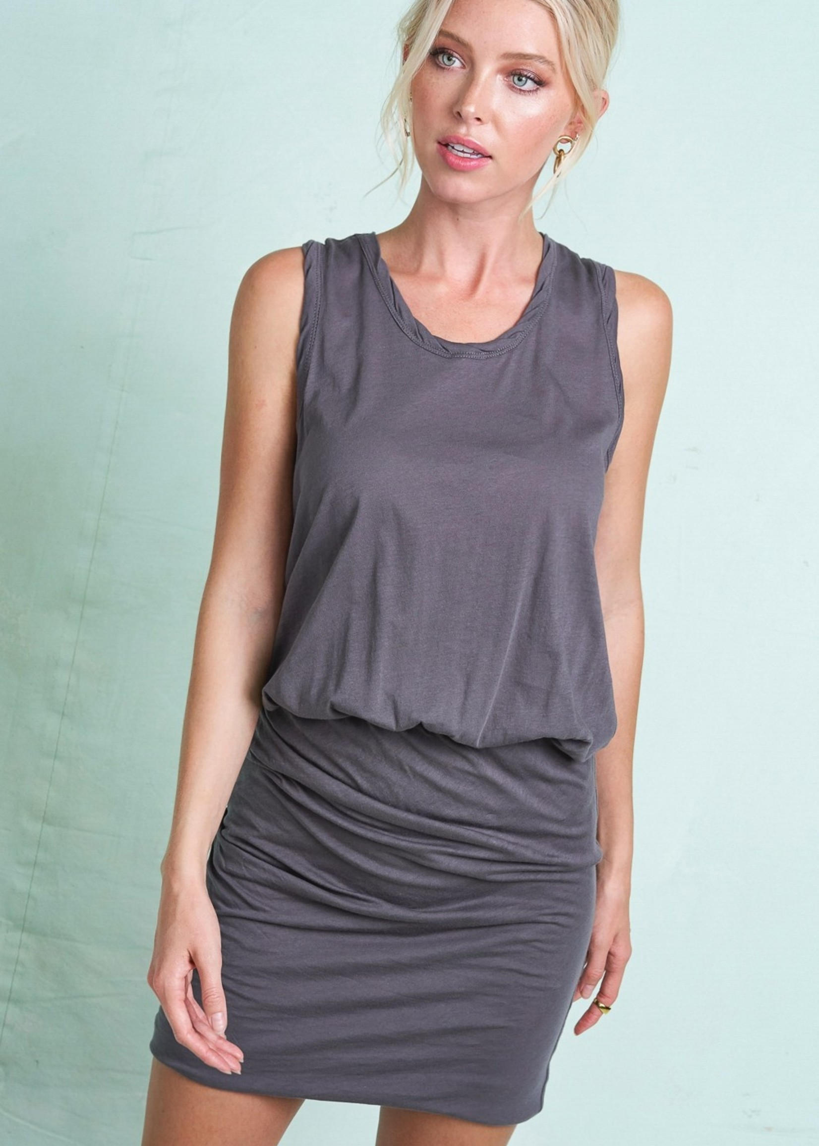 Sleeveless Rouched Knit Dress - Carbon