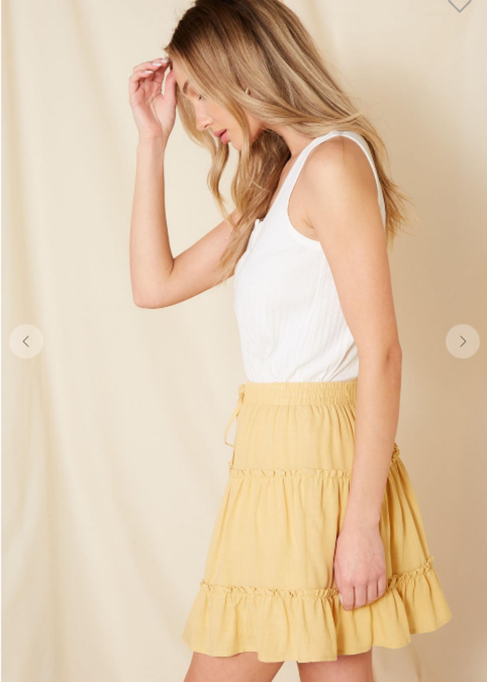 Ruffle Mini Skirt - Yellow