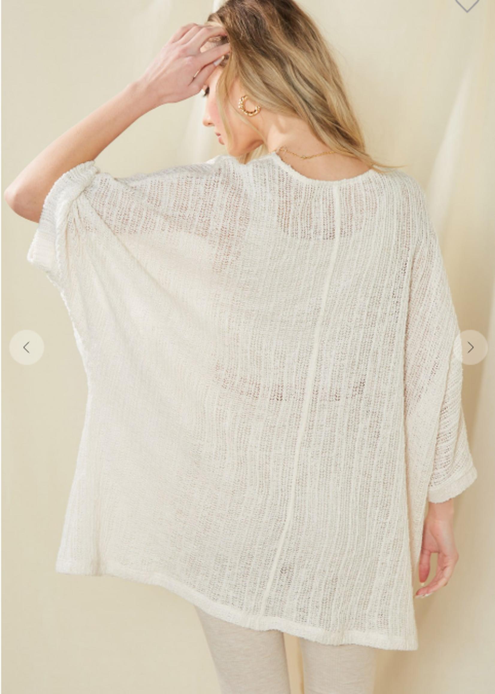 Open Sweater Knit Cardigan - Ivory