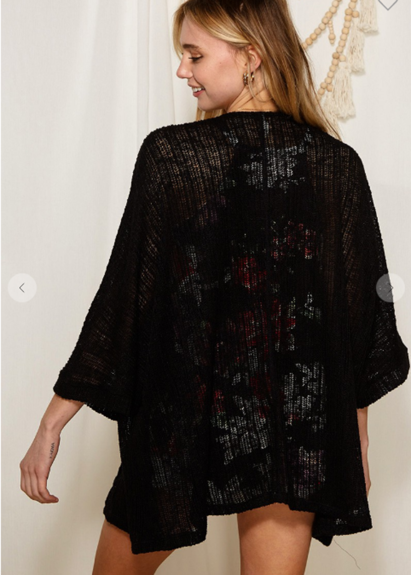 Open Sweater Knit Cardigan - Black