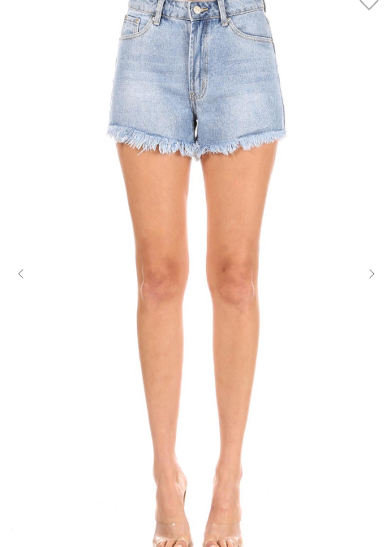Denim Distressed Shorts - Blue