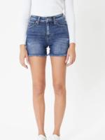 Kan Can High Rise Frayed Hem Shorts - Dark Wash