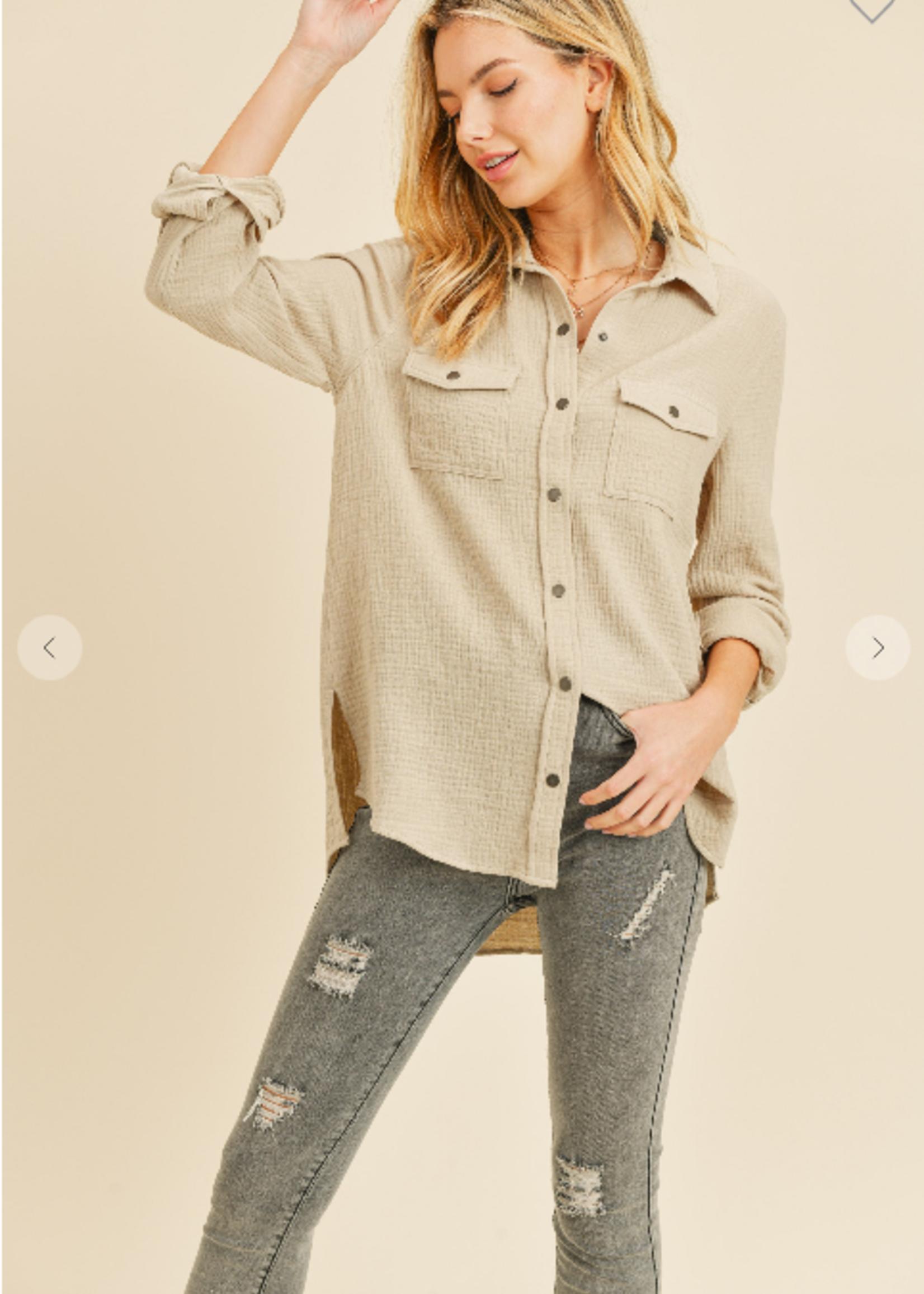 Snap Button Down Shirt - Khaki