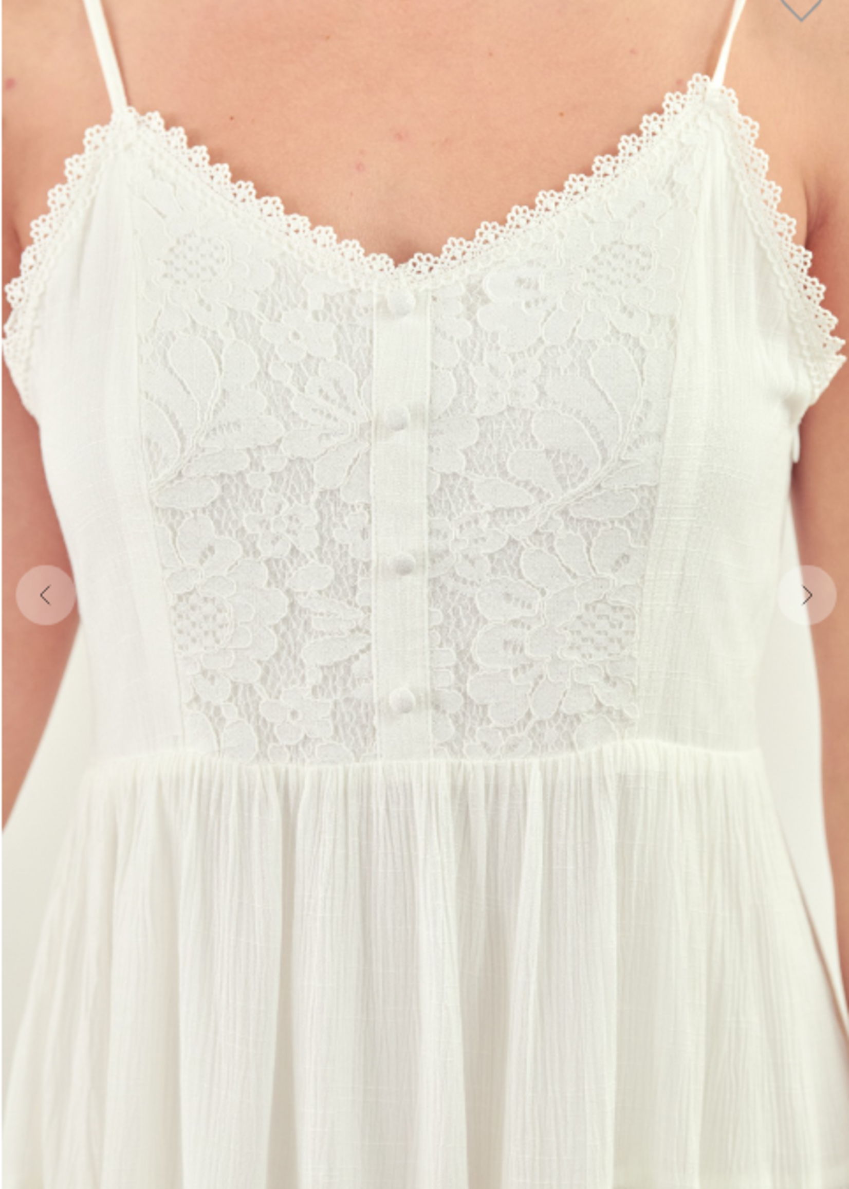 Lace Front Tiered Dress - Off White