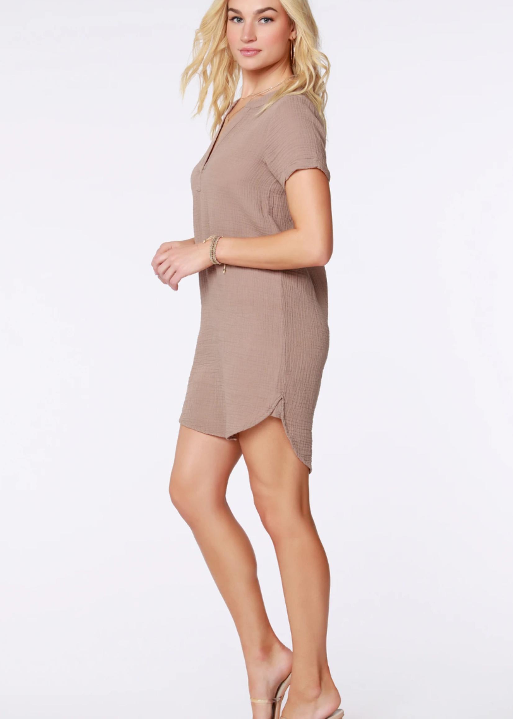 Bobi Placket Short Sleeve Dress - Java