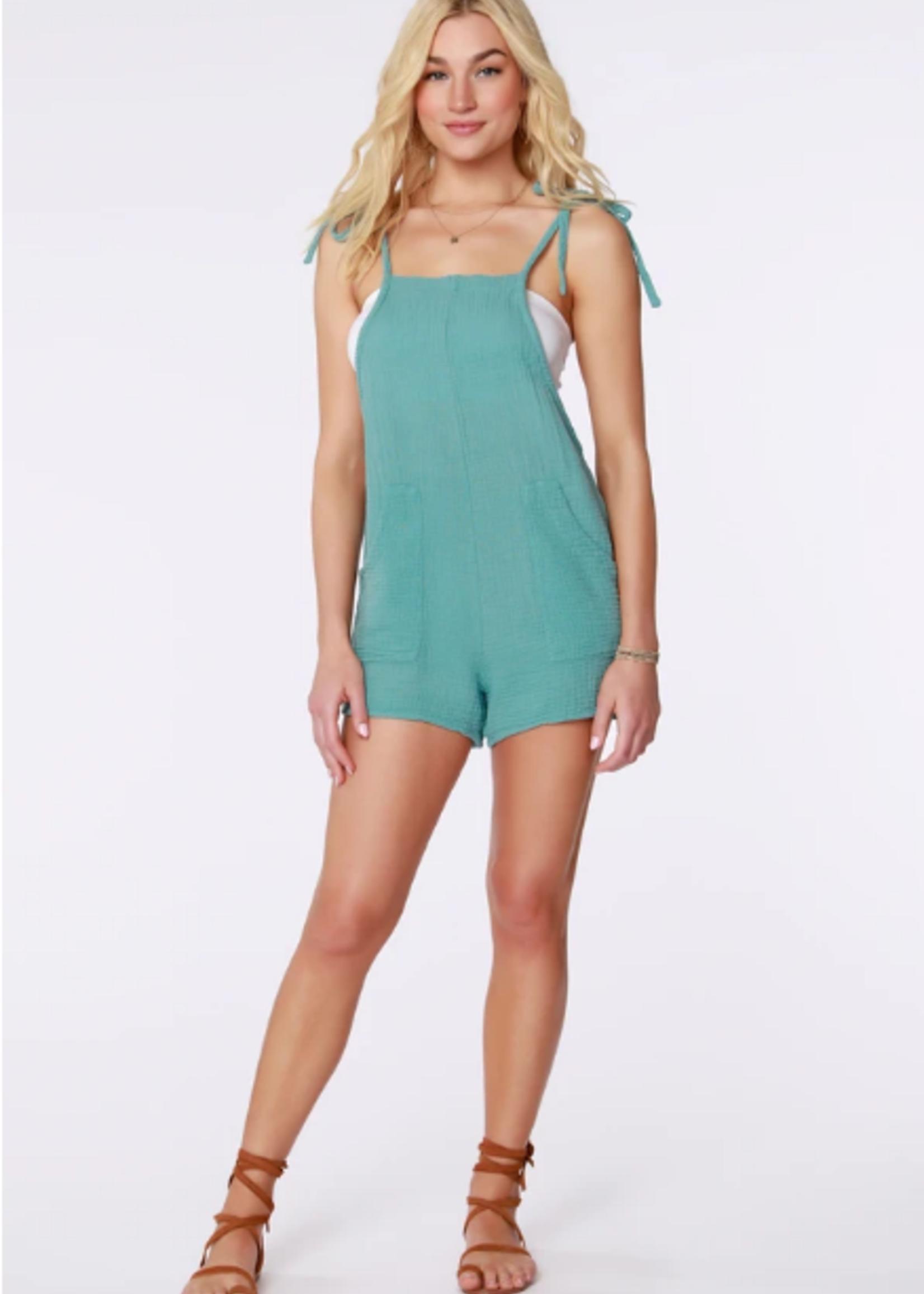 Bobi Overall Romper - Turquoise