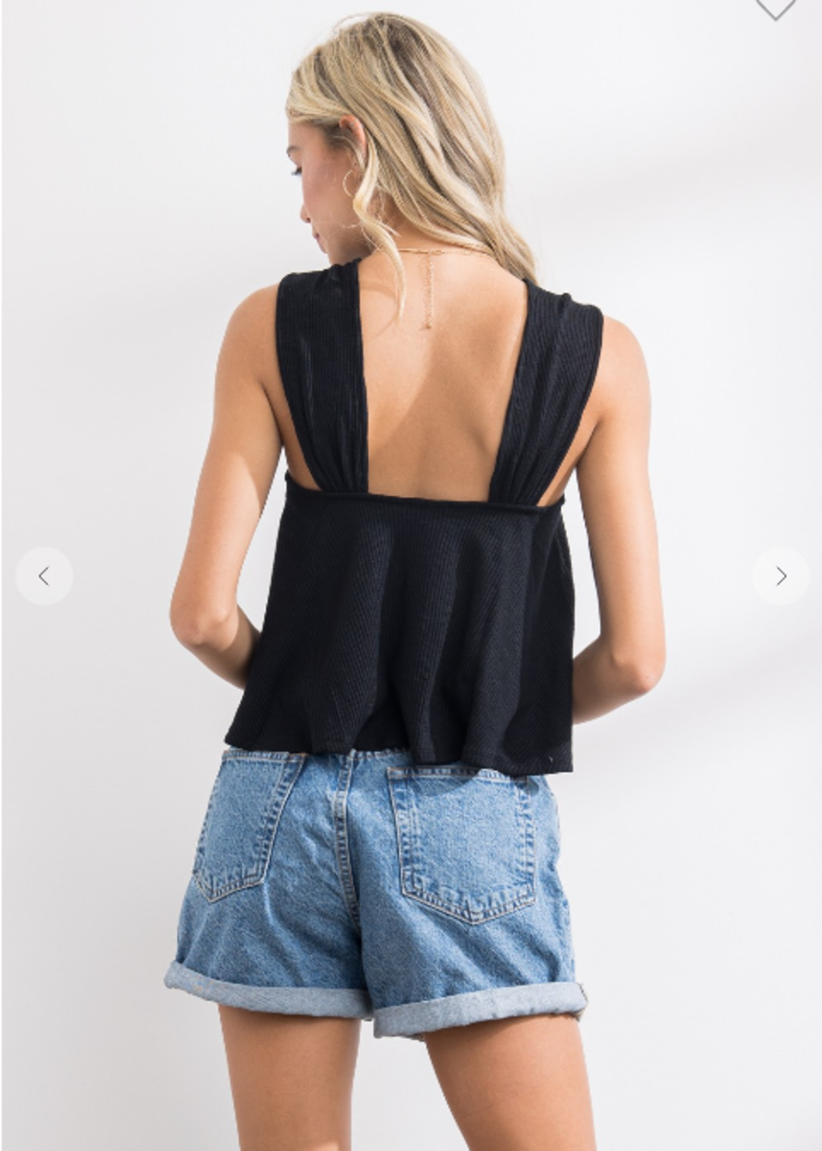 Ribbed Front Gather Tank - Black