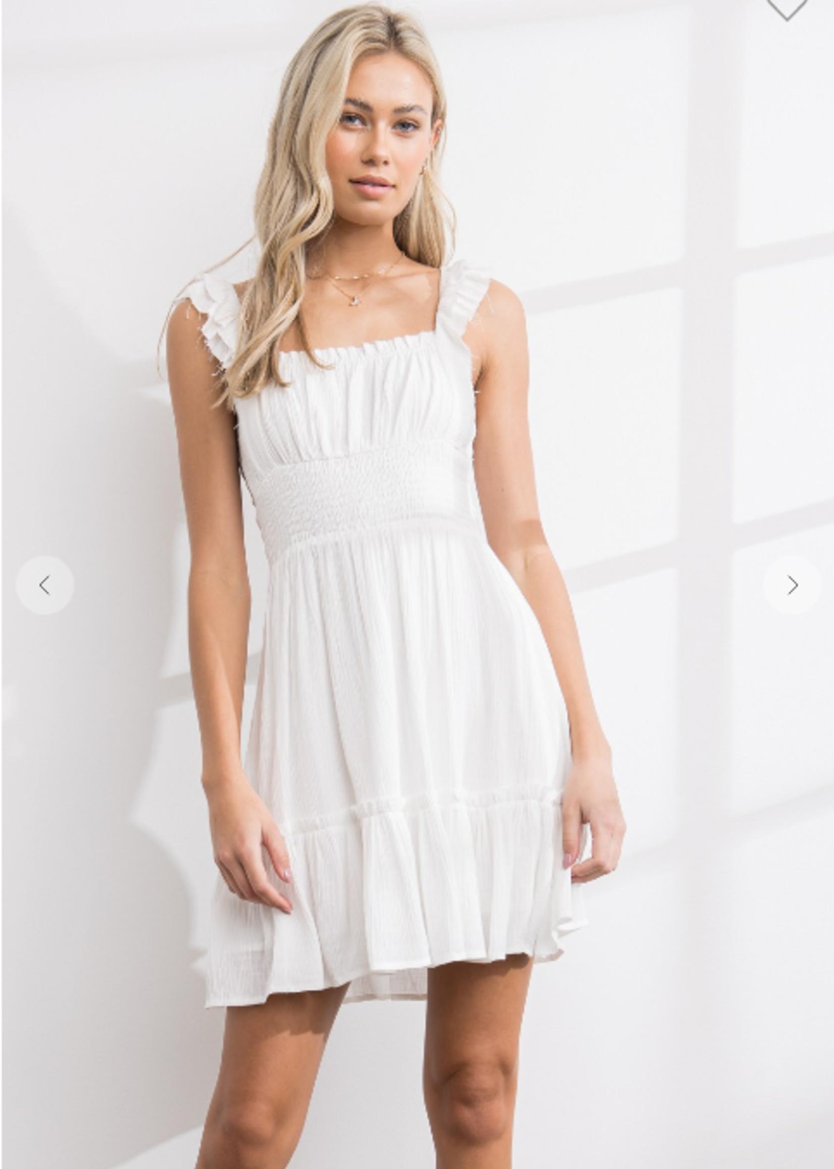 Smocked Waist Dress - White