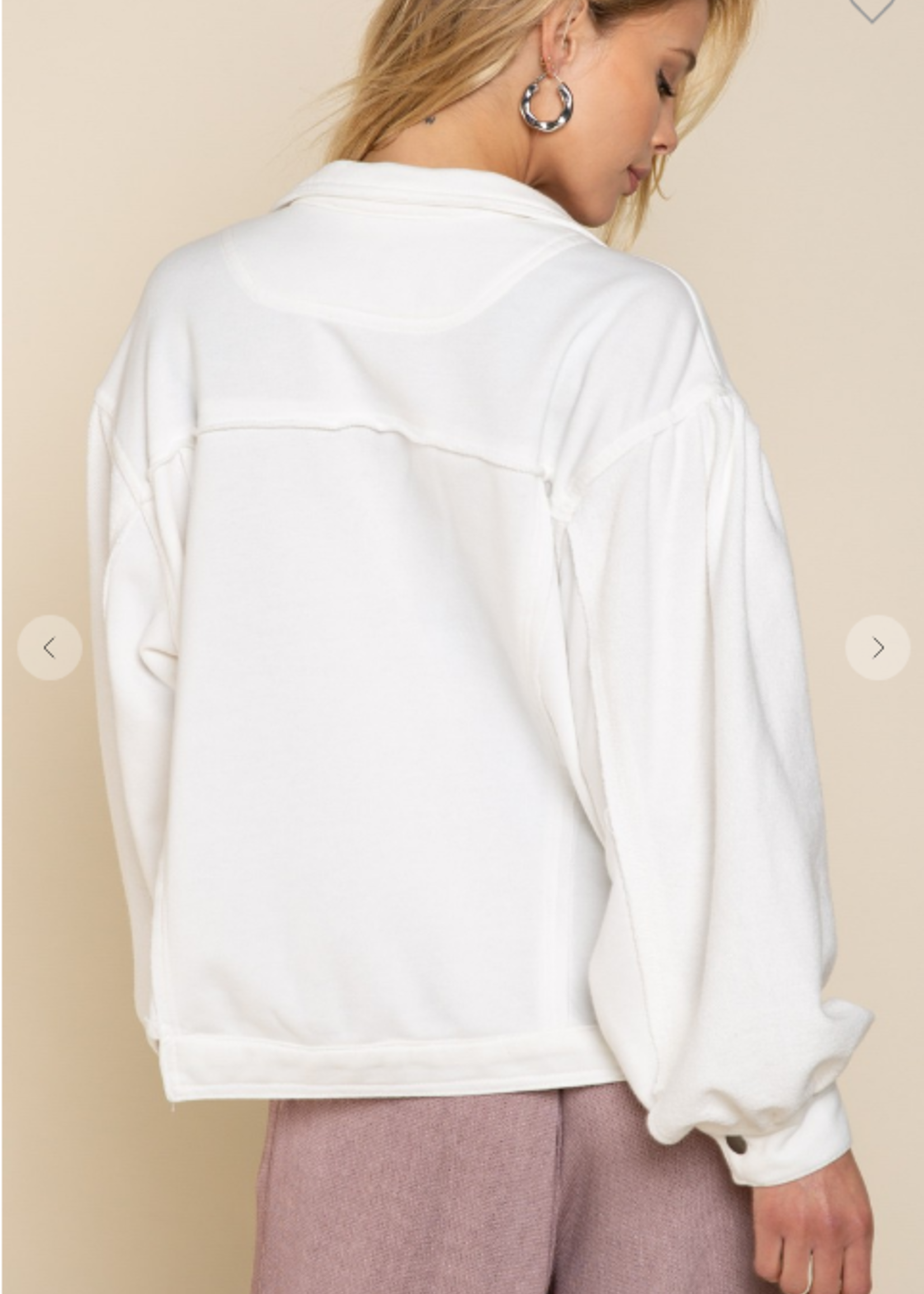 French Terry Jacket - Ivory