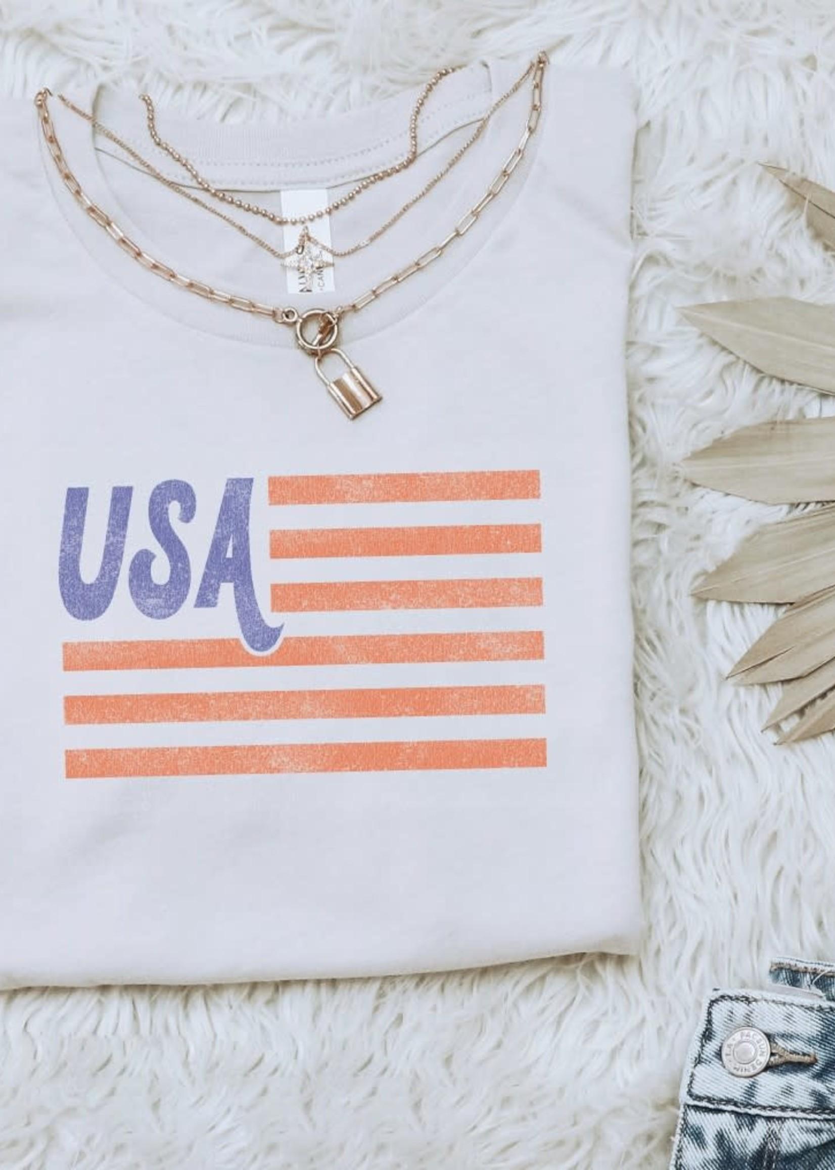 USA Flag Tee - Vintage White