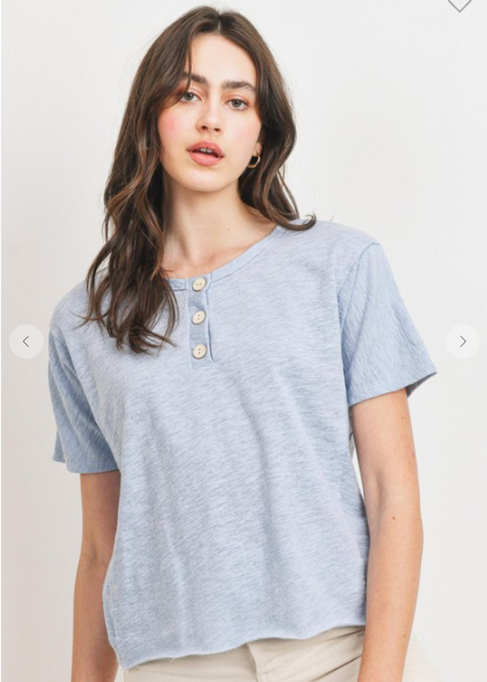 French Terry Button Front Top - Light Blue