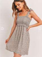 Floral Crinkle Smocking Dress - Sage