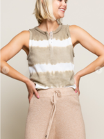 Ribbed Tie Dye Stripe Top - Taupe Stripe