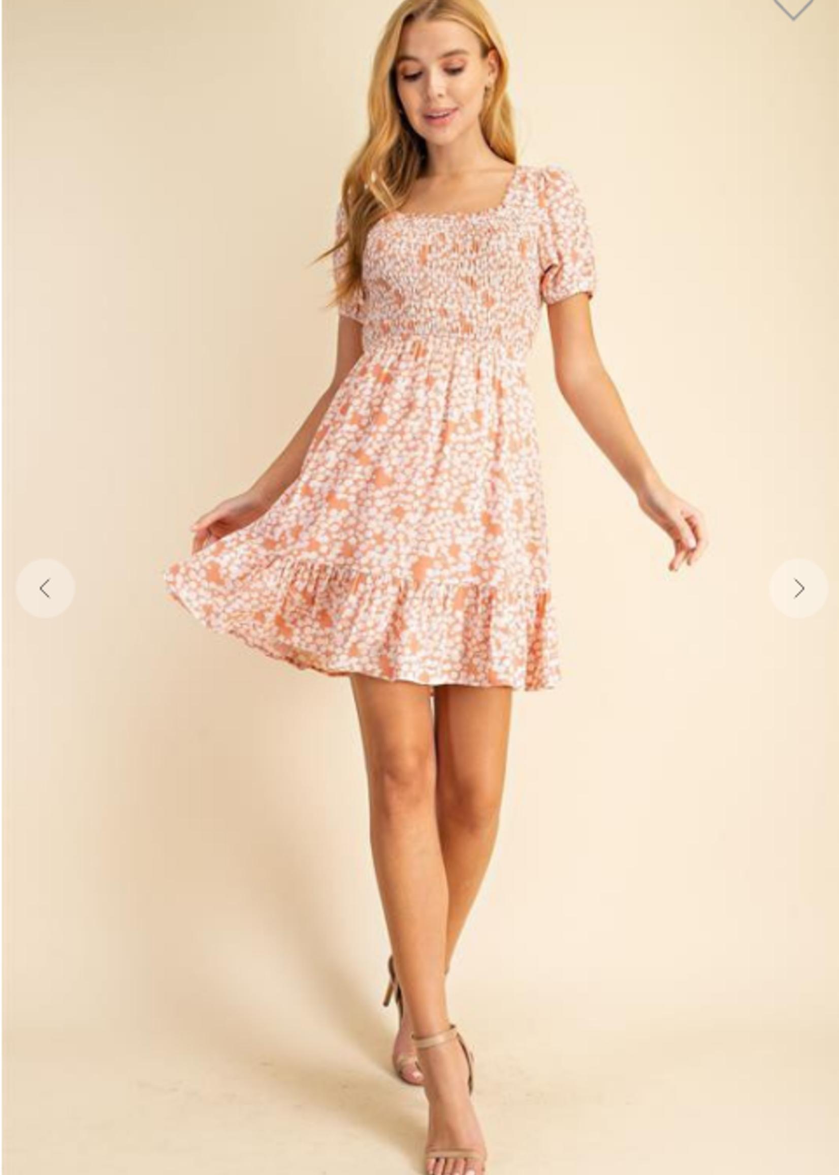 Floral Smocked Dress - Coral