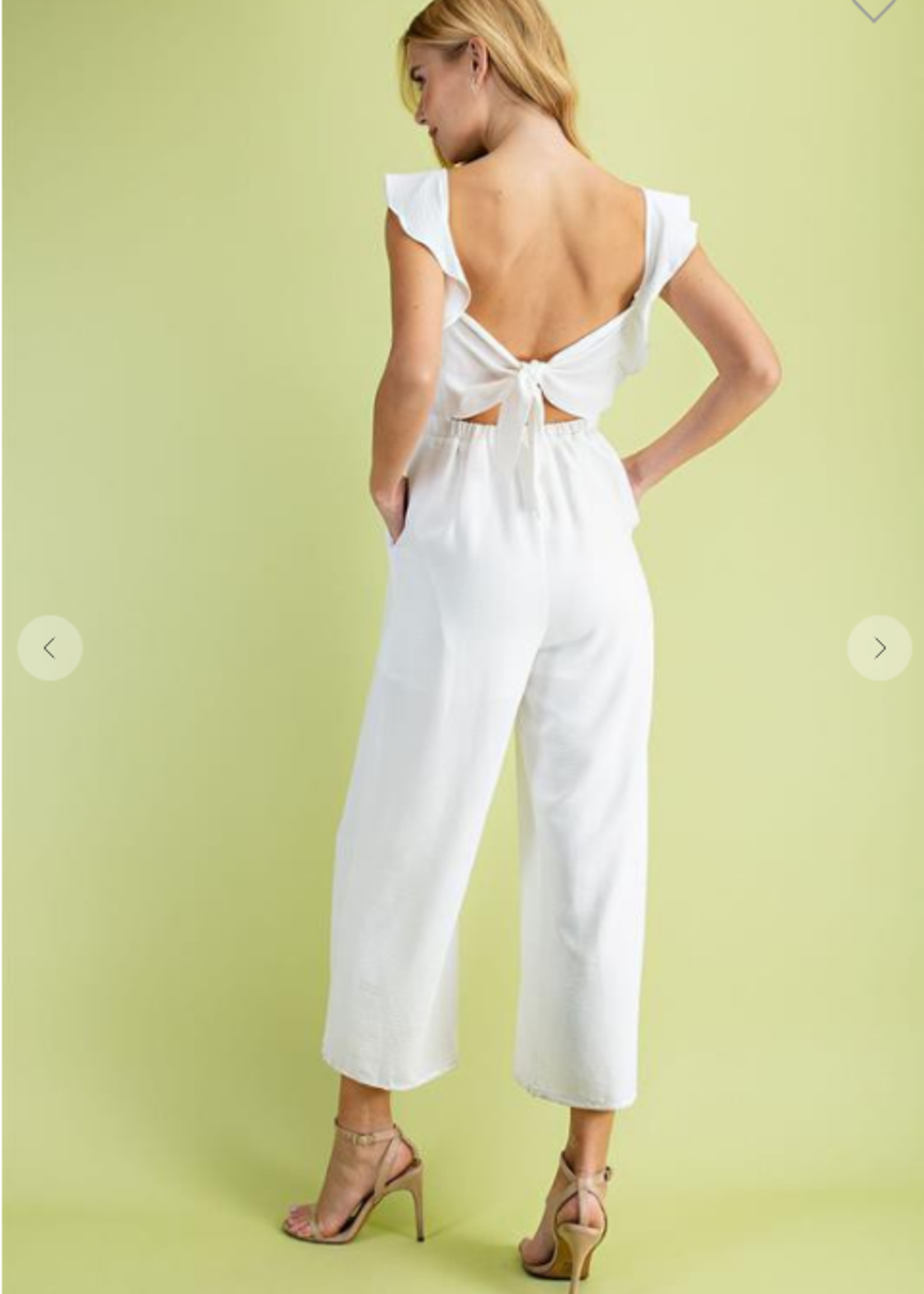 Smocked Top Jumpsuit - White