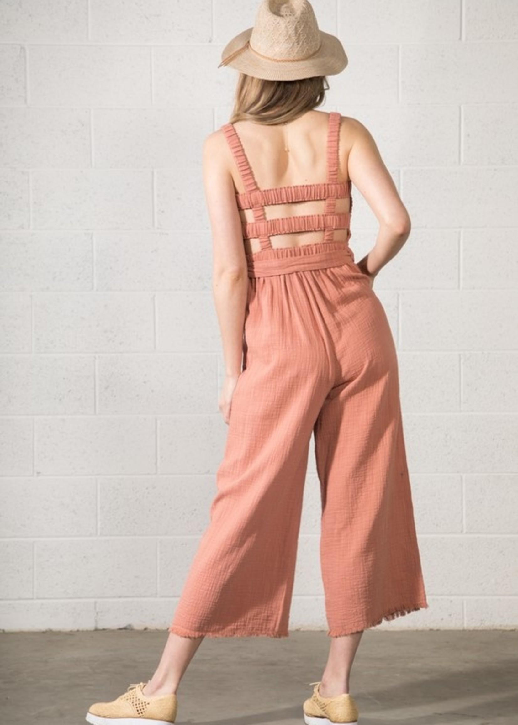 Cotton Gauze Jumpsuit - Blush