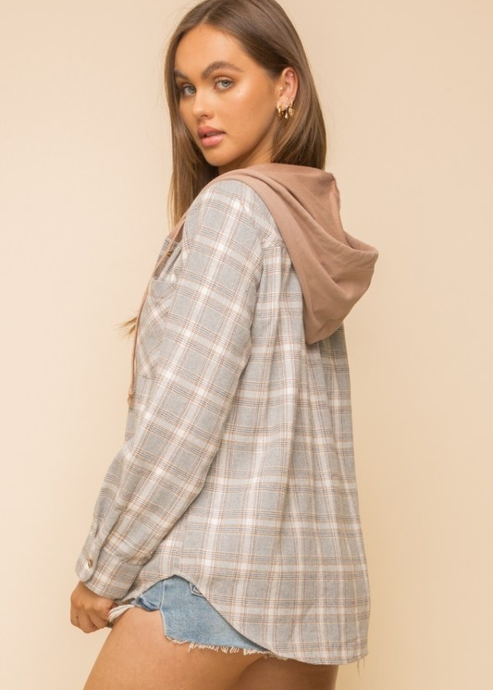 Plaid Button Down with Hood