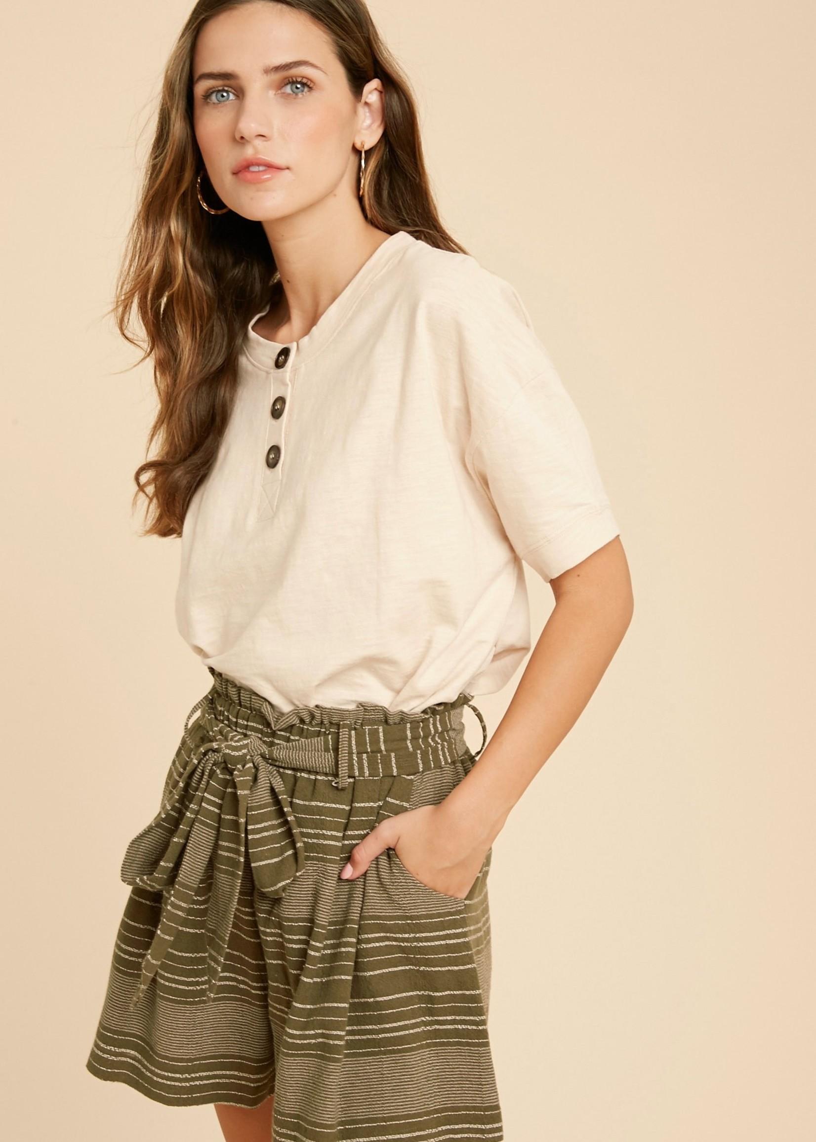 Short Sleeve Henley Knit Top - Blush