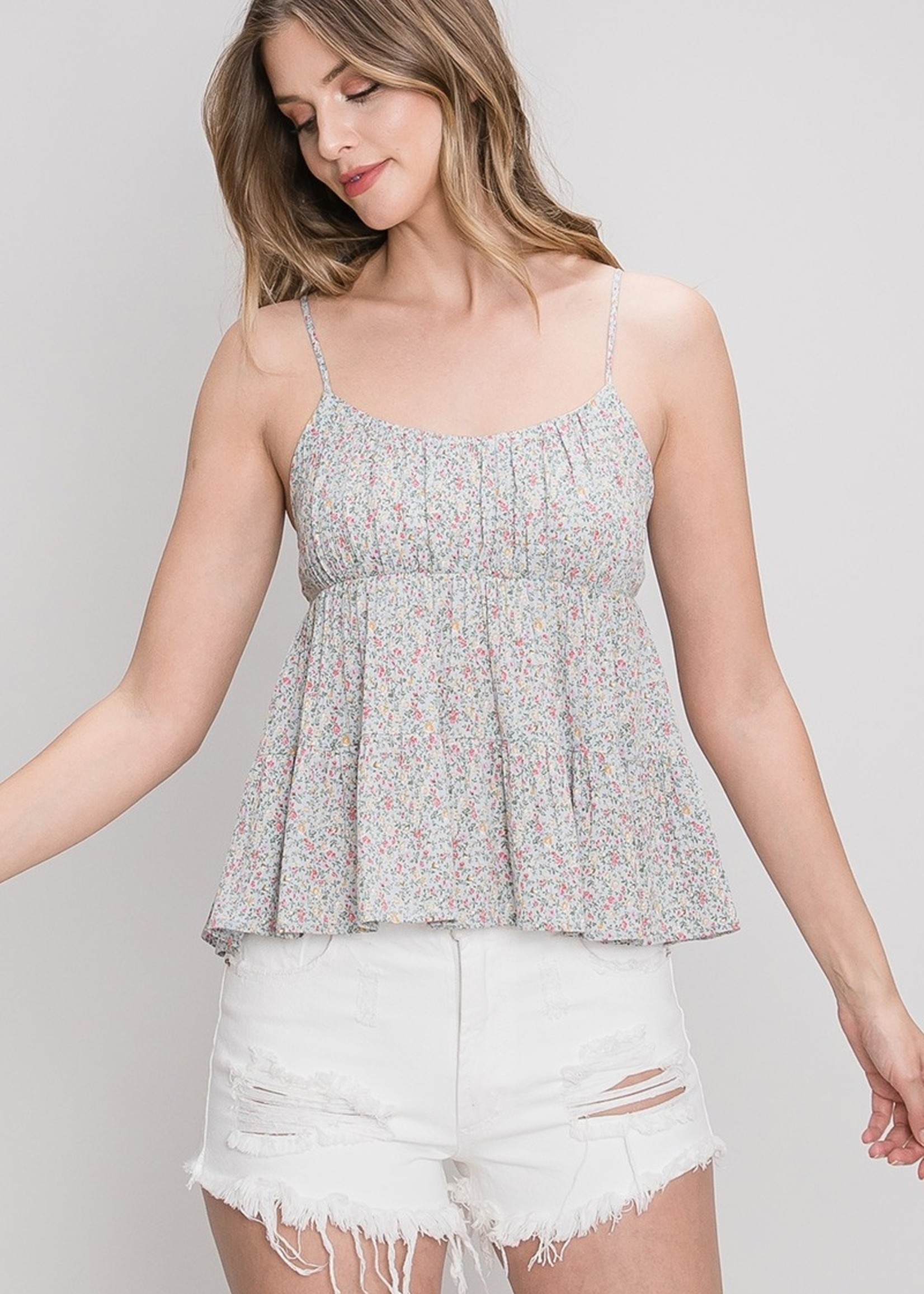 Floral Cami - Pewter