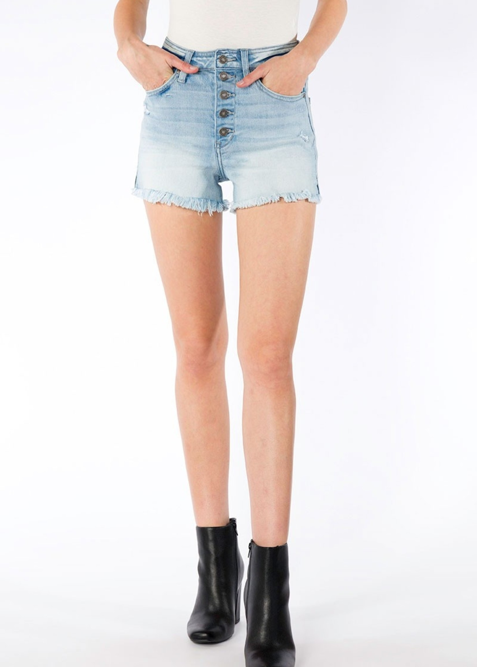 Kan Can Exposed Button High Rise Short - Light Blue
