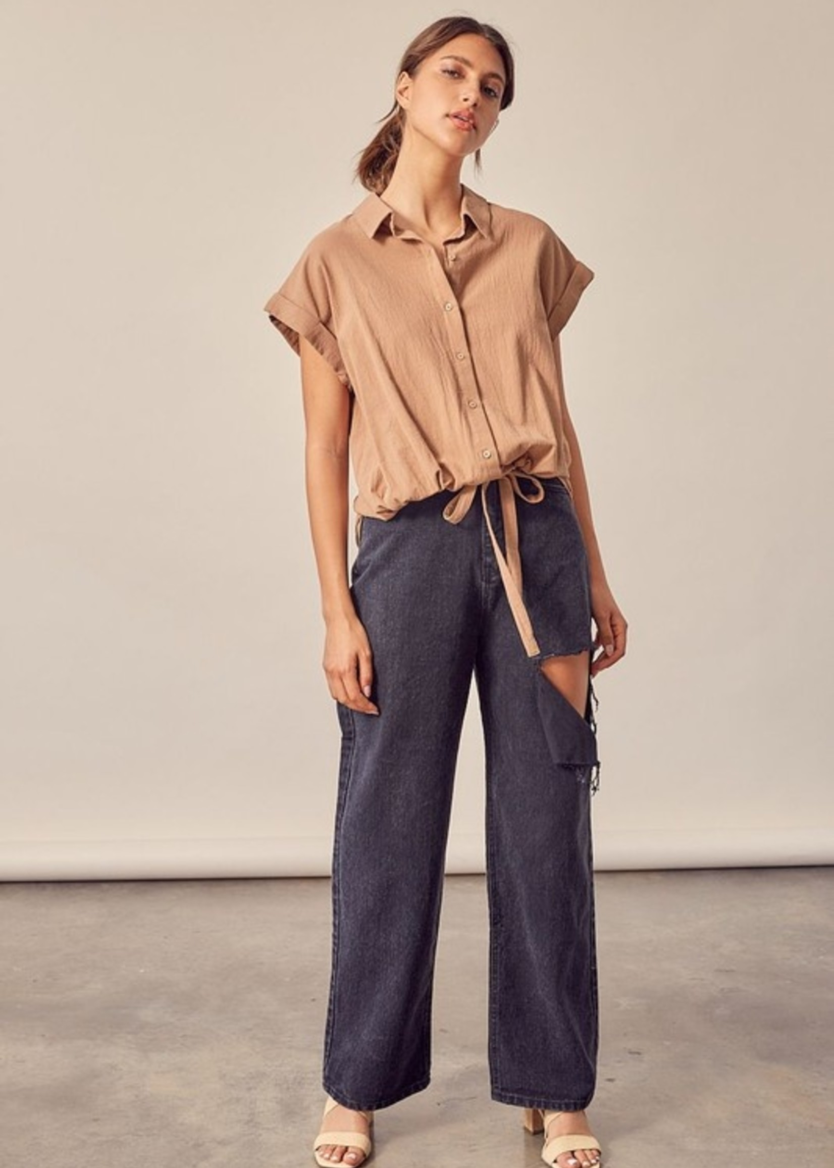 Button Up Rolled Sleeve Top - Dark Taupe