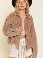 Cord Jacket with Distressed Bottom