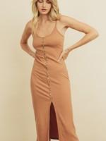 Ribbed Knit Midi Dress - Sand