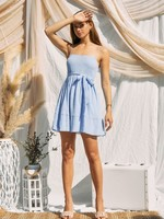 Textured Woven Smocked Dress - Icy Blue